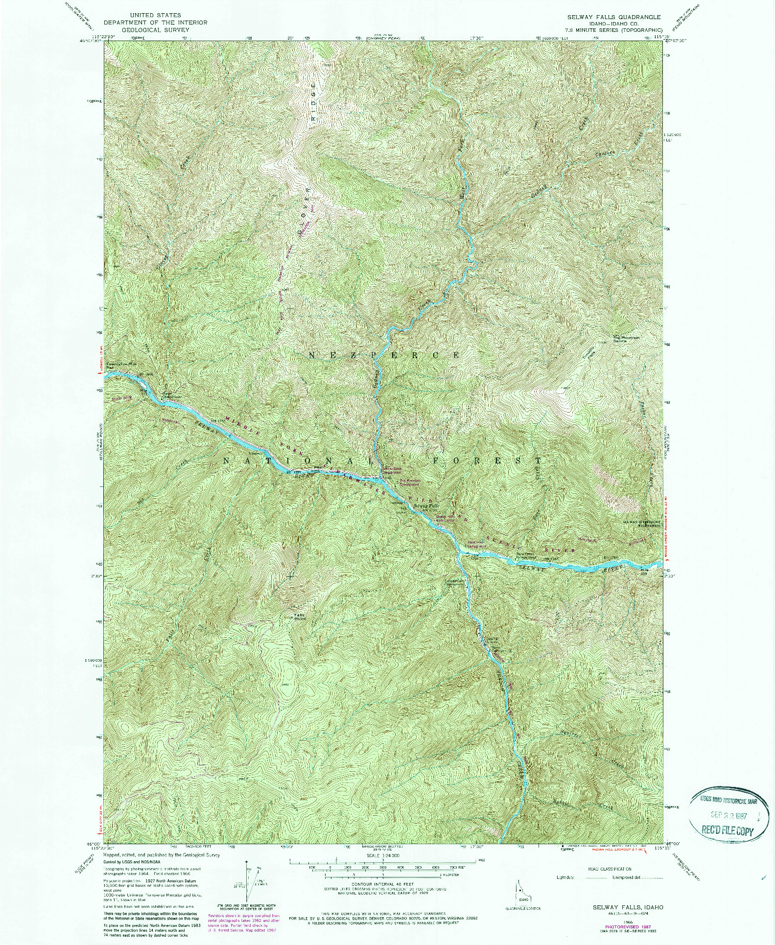 USGS 1:24000-SCALE QUADRANGLE FOR SELWAY FALLS, ID 1966
