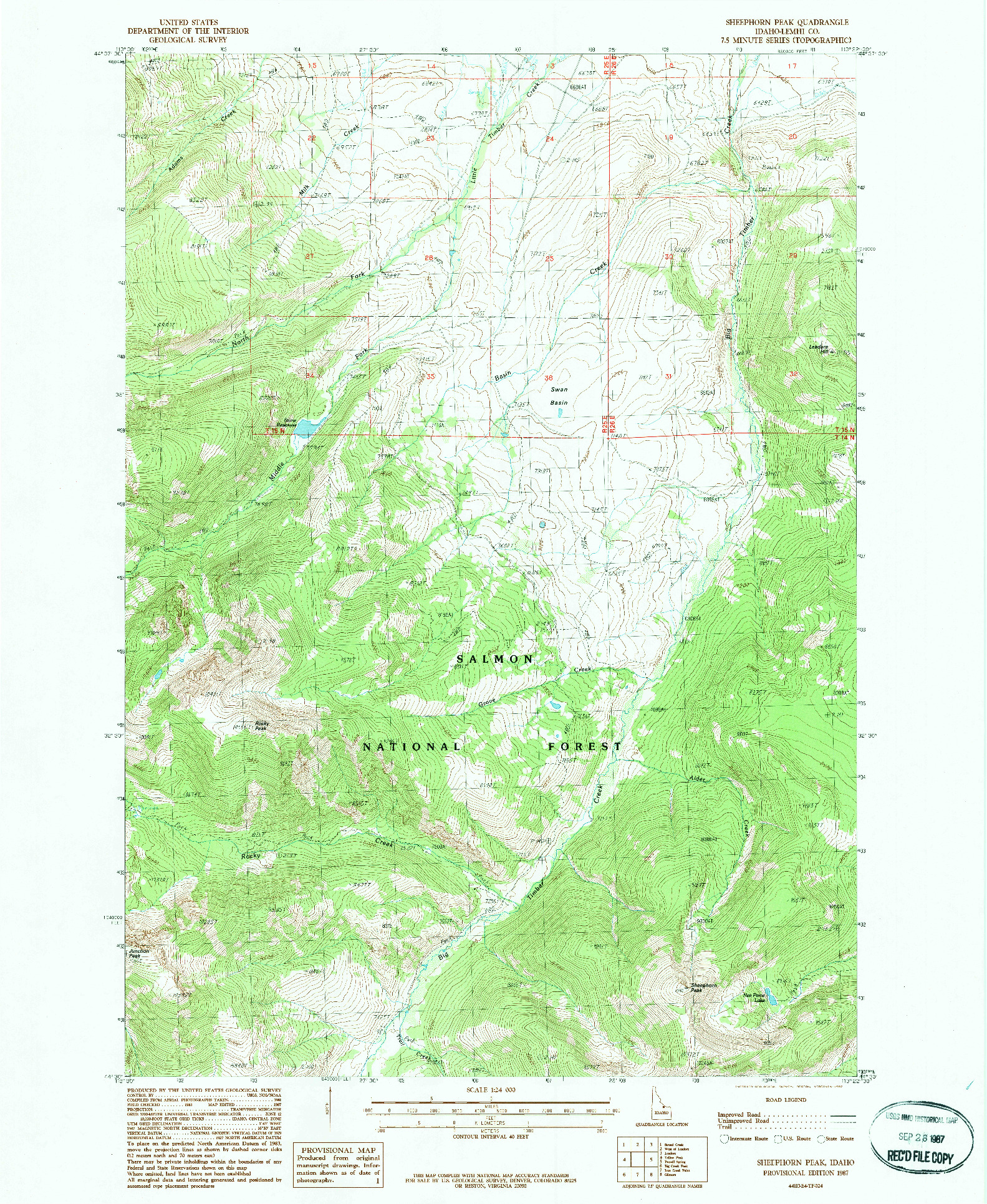 USGS 1:24000-SCALE QUADRANGLE FOR SHEEPHORN PEAK, ID 1987