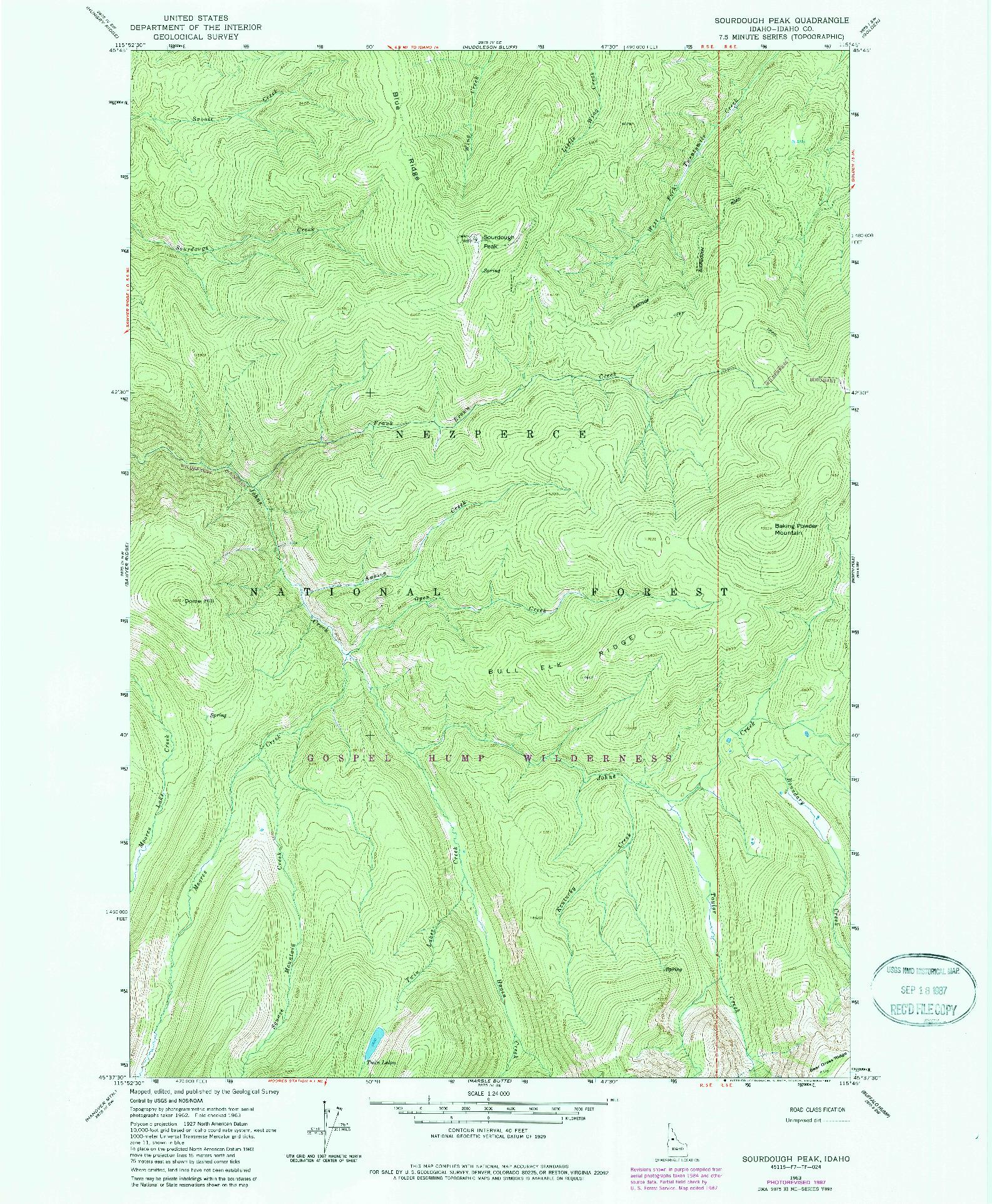 USGS 1:24000-SCALE QUADRANGLE FOR SOURDOUGH PEAK, ID 1963