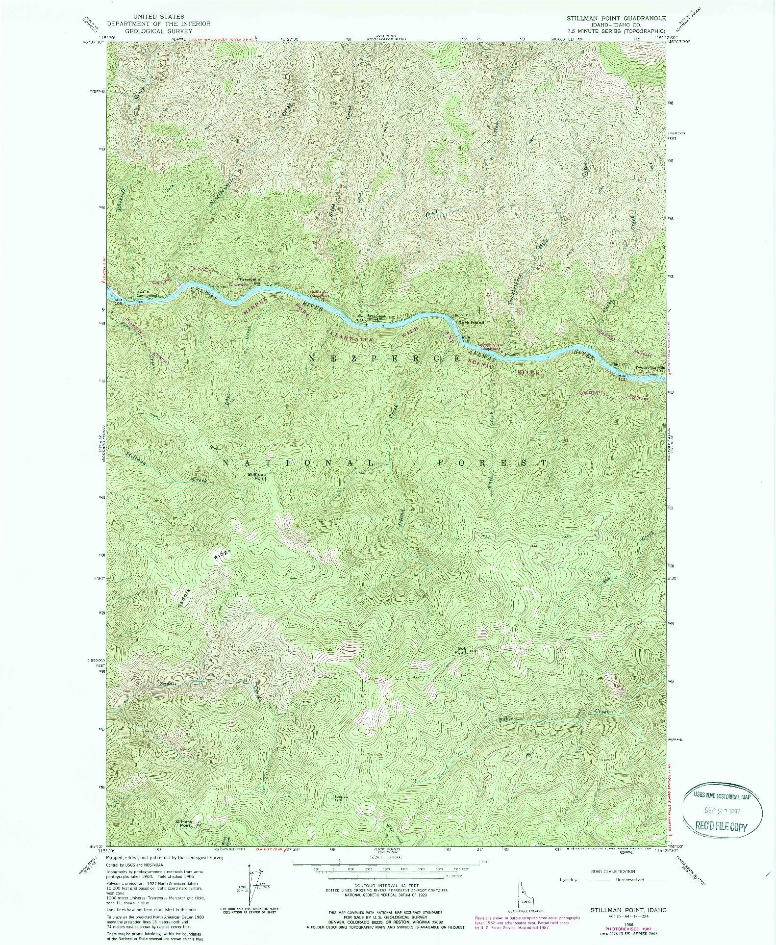 USGS 1:24000-SCALE QUADRANGLE FOR STILLMAN POINT, ID 1966