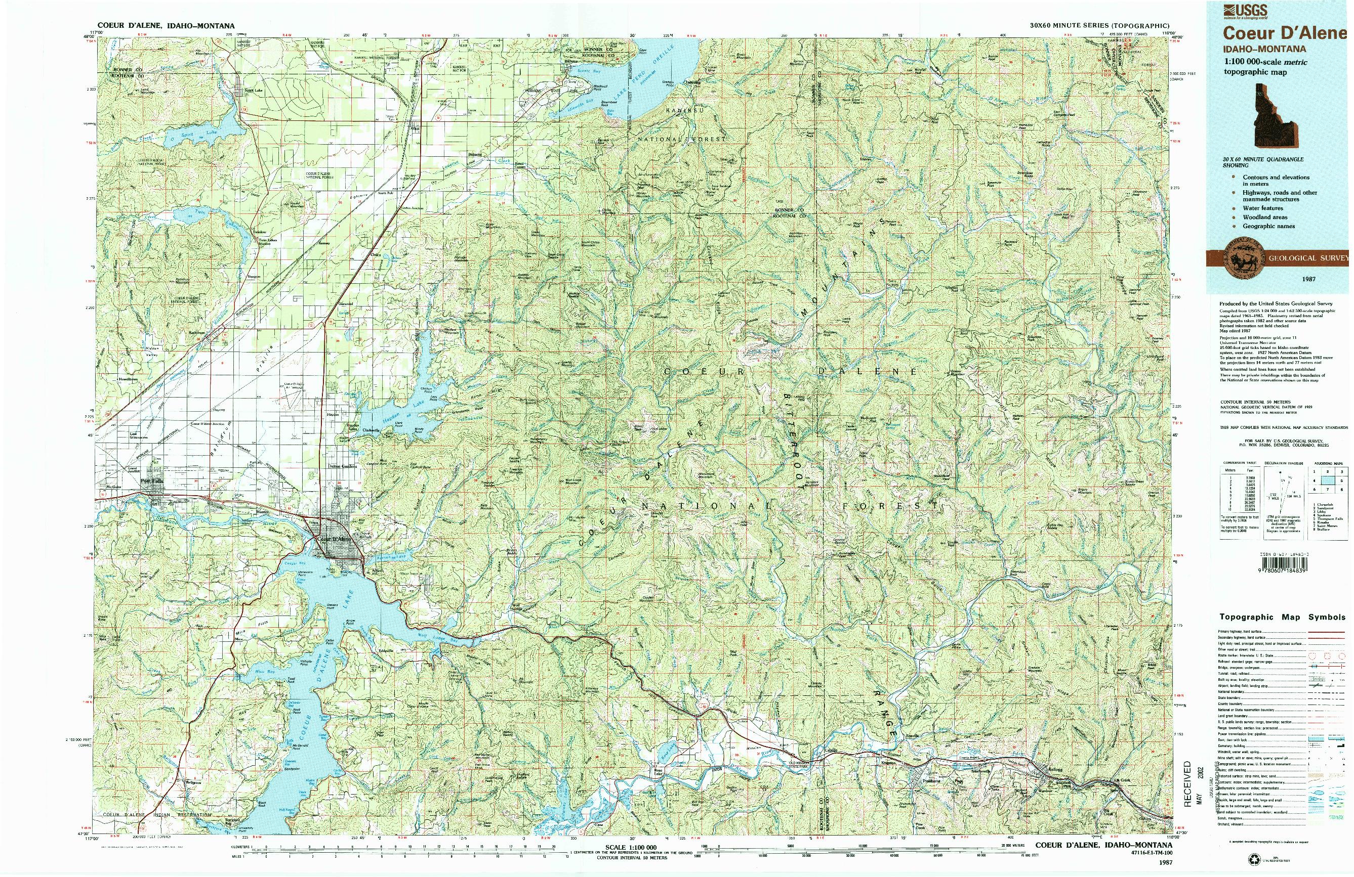USGS 1:100000-SCALE QUADRANGLE FOR COEUR D'ALENE, ID 1987