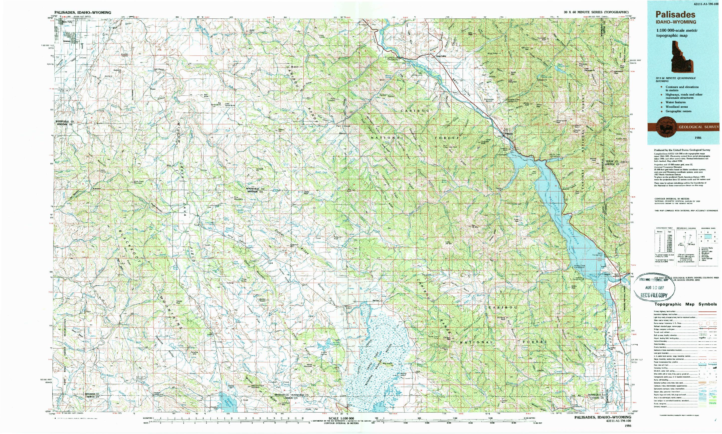 USGS 1:100000-SCALE QUADRANGLE FOR PALISADES, ID 1986