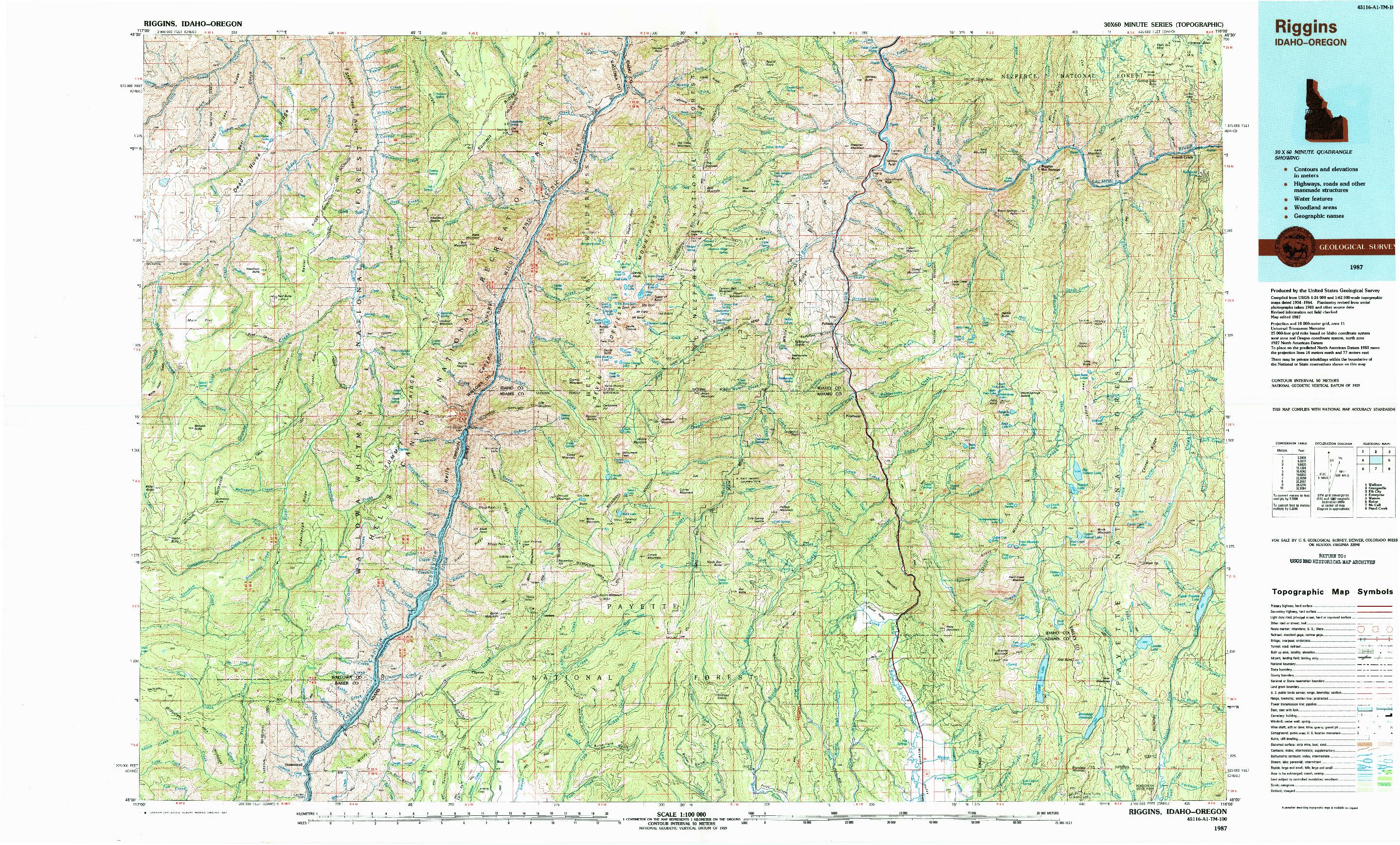 USGS 1:100000-SCALE QUADRANGLE FOR RIGGINS, ID 1987