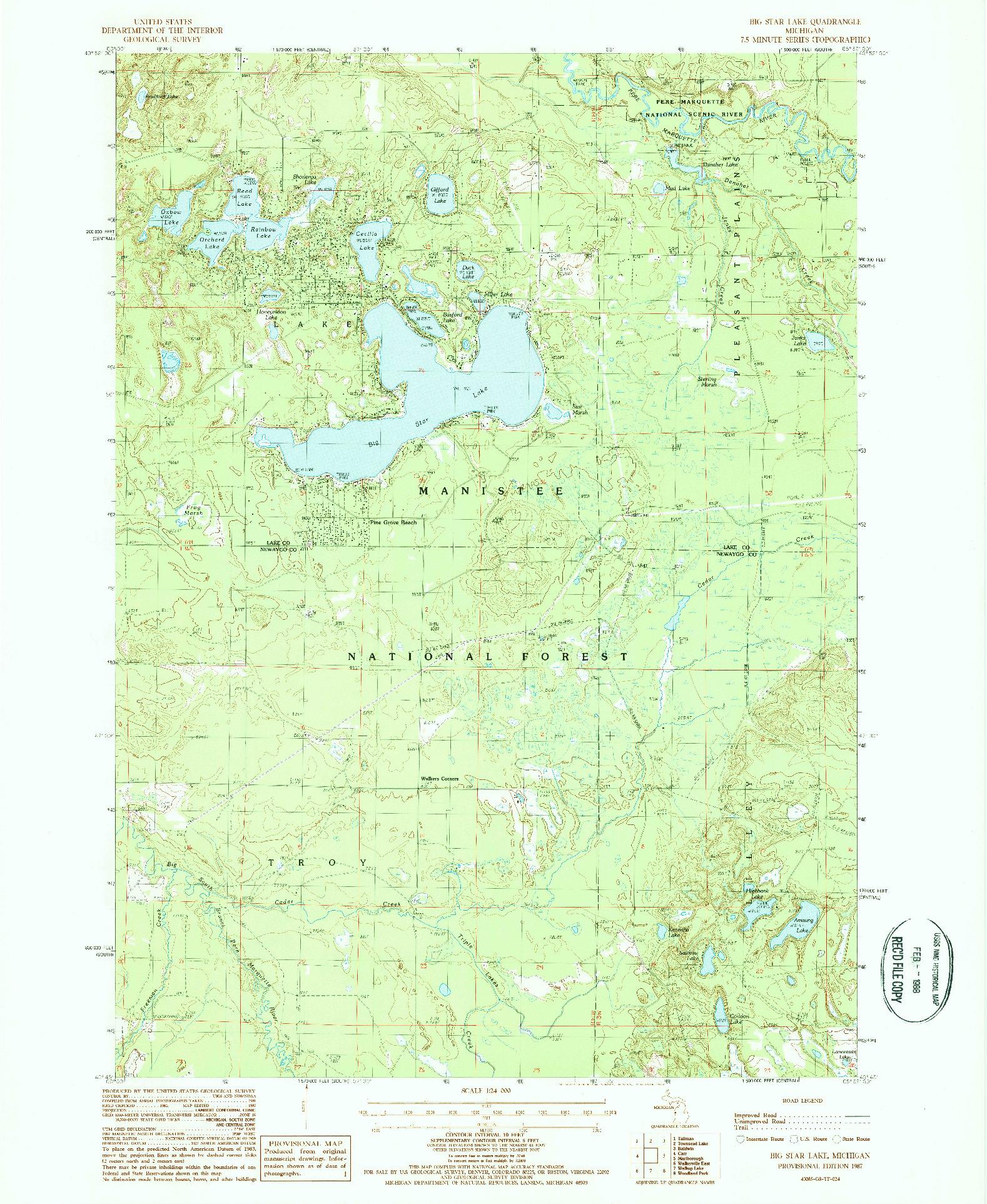 USGS 1:24000-SCALE QUADRANGLE FOR BIG STAR LAKE, MI 1987
