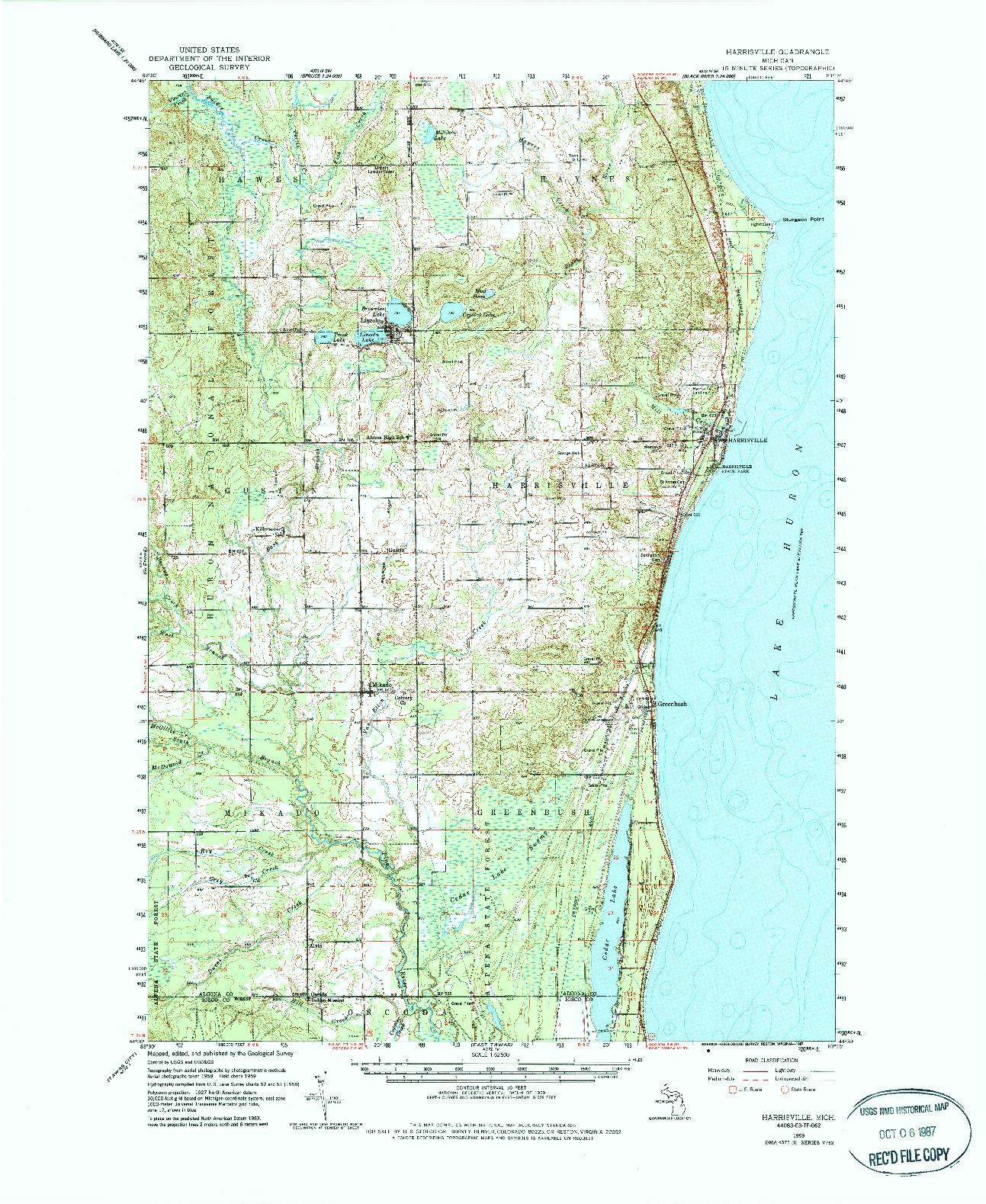 USGS 1:62500-SCALE QUADRANGLE FOR HARRISVILLE, MI 1959