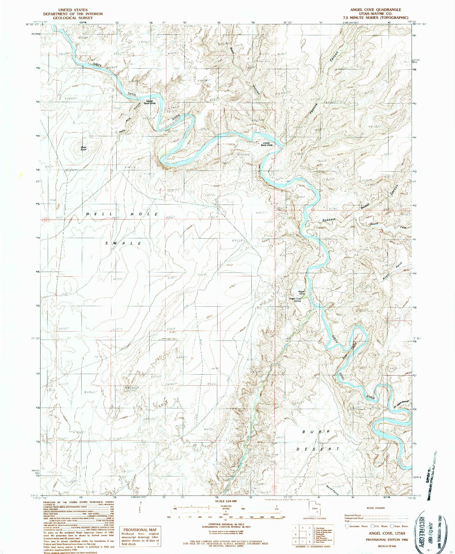 USGS 1:24000-SCALE QUADRANGLE FOR ANGEL COVE, UT 1986