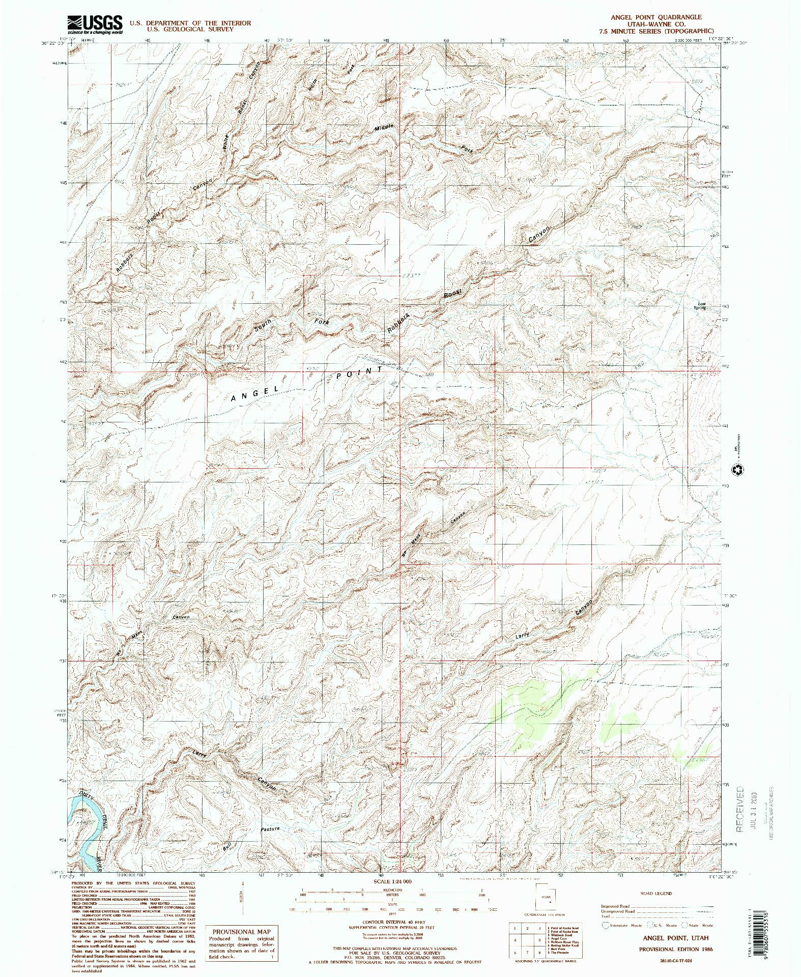 USGS 1:24000-SCALE QUADRANGLE FOR ANGEL POINT, UT 1986