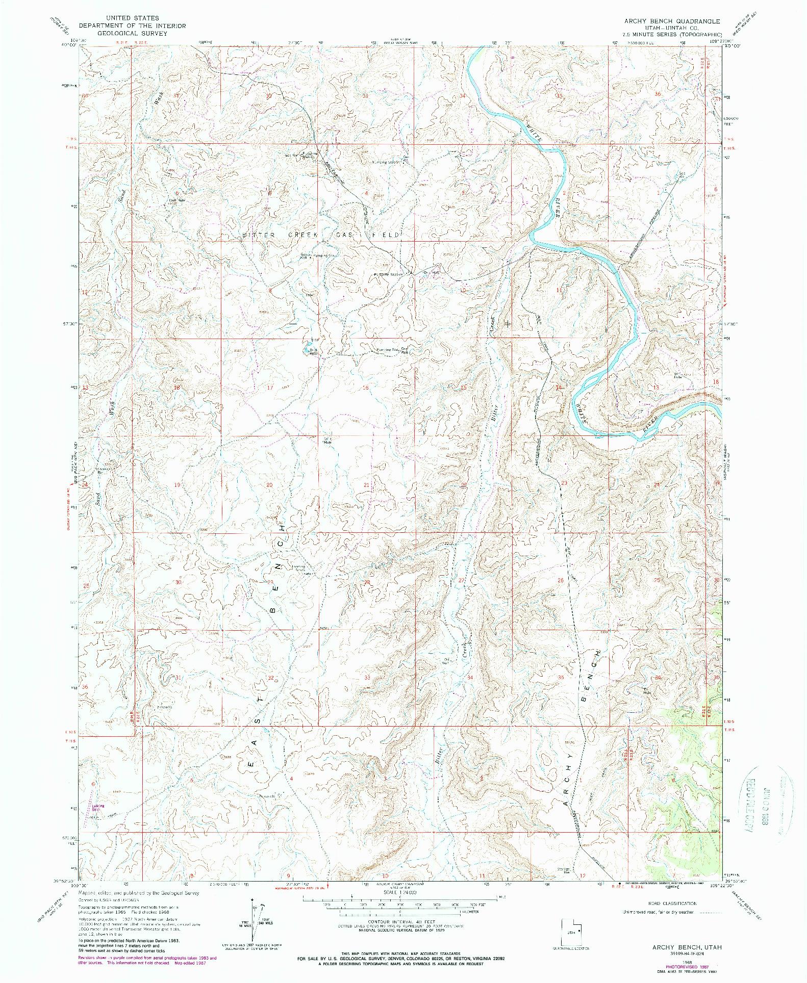 USGS 1:24000-SCALE QUADRANGLE FOR ARCHY BENCH, UT 1968