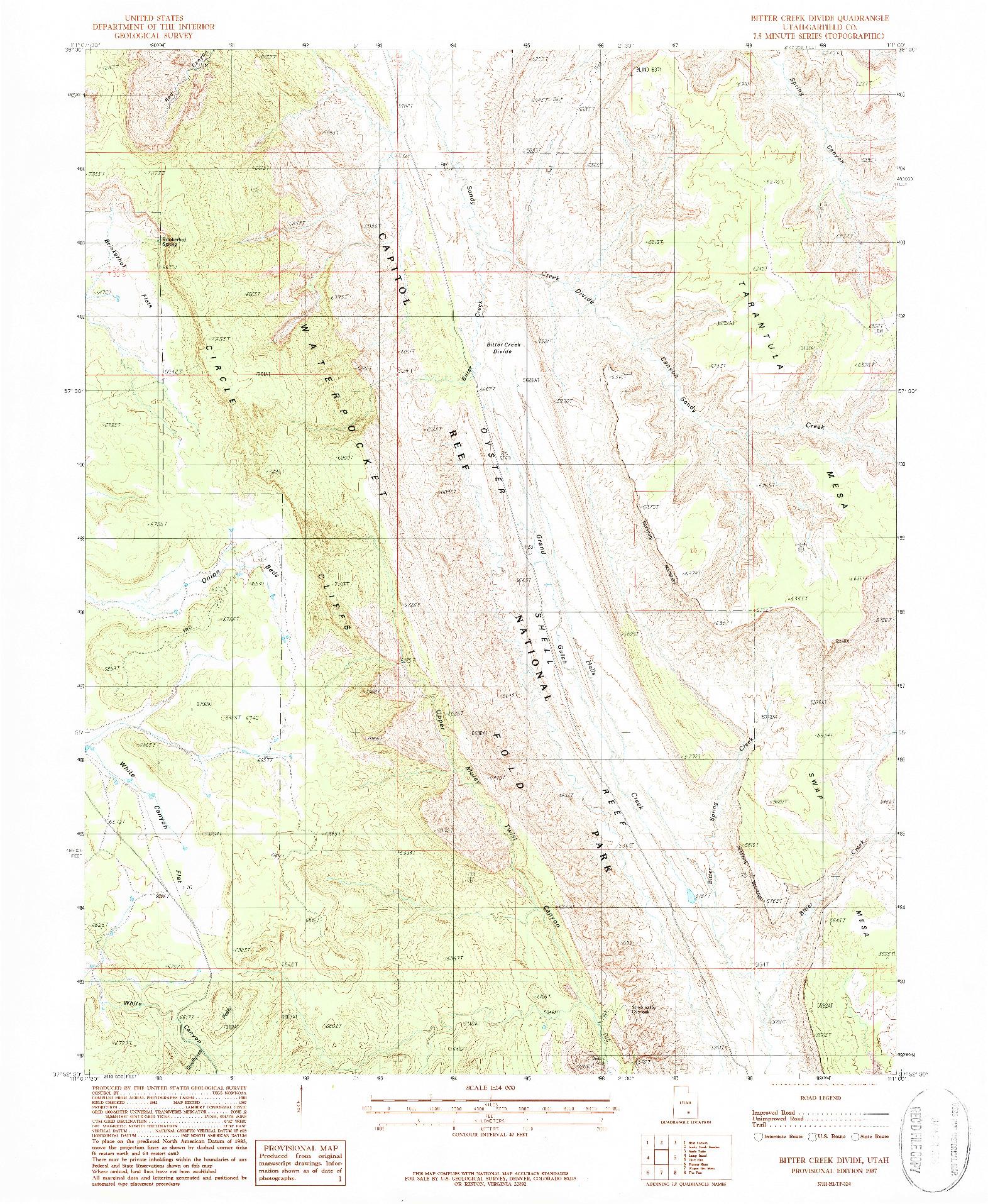 USGS 1:24000-SCALE QUADRANGLE FOR BITTER CREEK DIVIDE, UT 1987