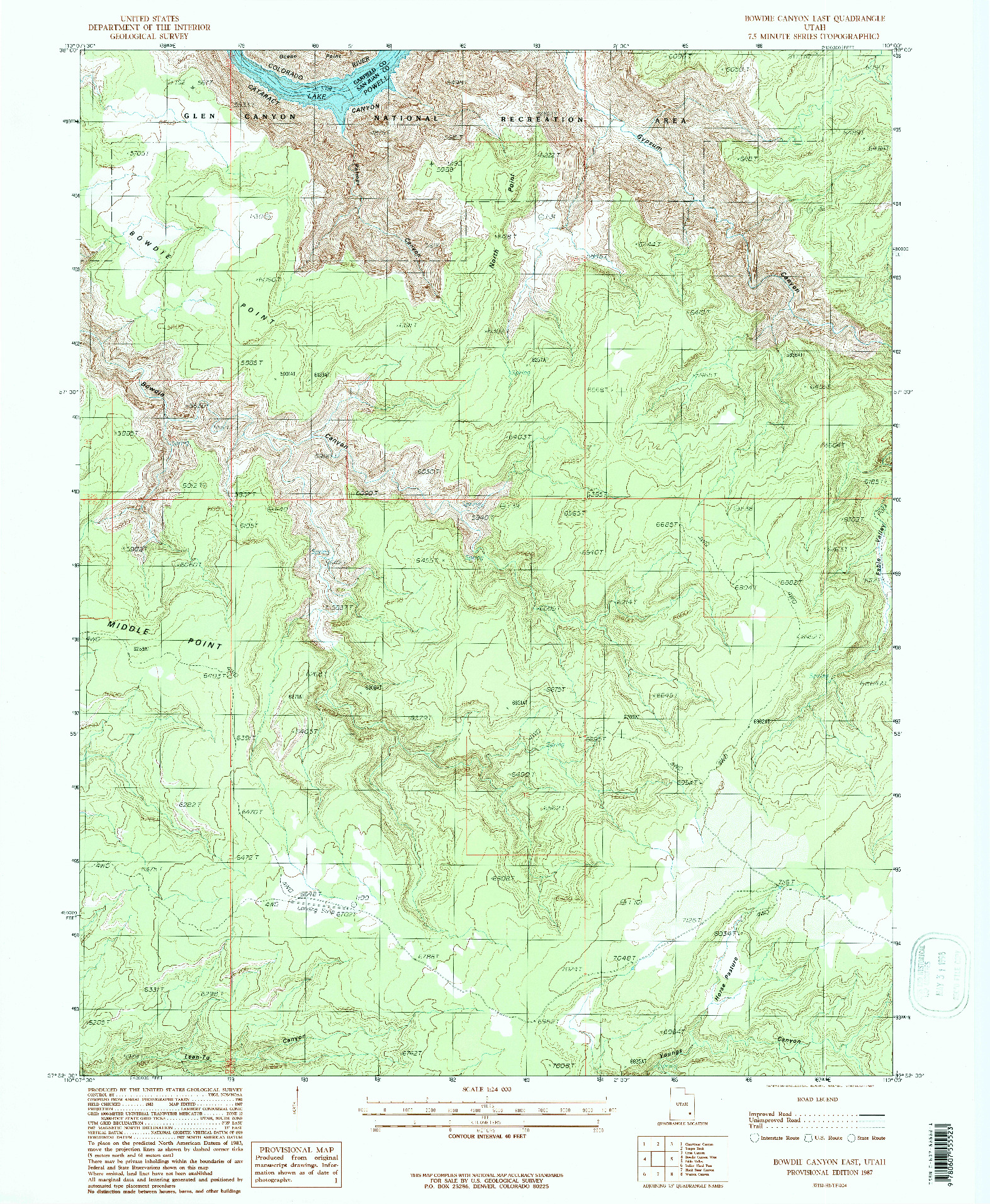 USGS 1:24000-SCALE QUADRANGLE FOR BOWDIE CANYON EAST, UT 1987