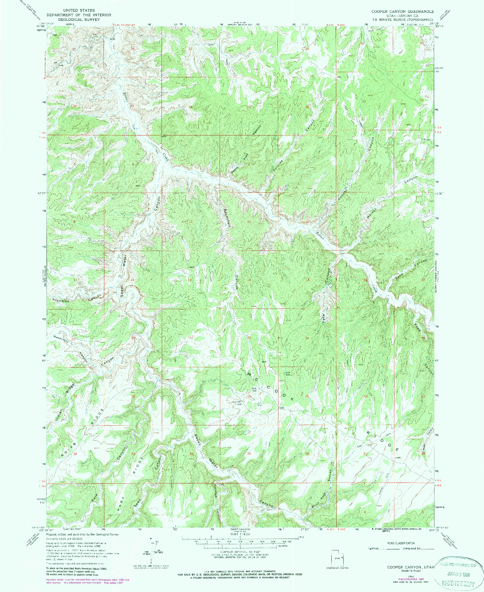 USGS 1:24000-SCALE QUADRANGLE FOR COPPER CANYON, UT 1966