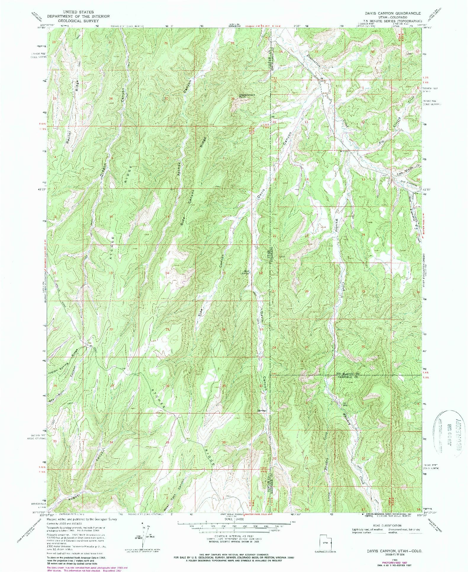 USGS 1:24000-SCALE QUADRANGLE FOR DAVIS CANYON, UT 1966