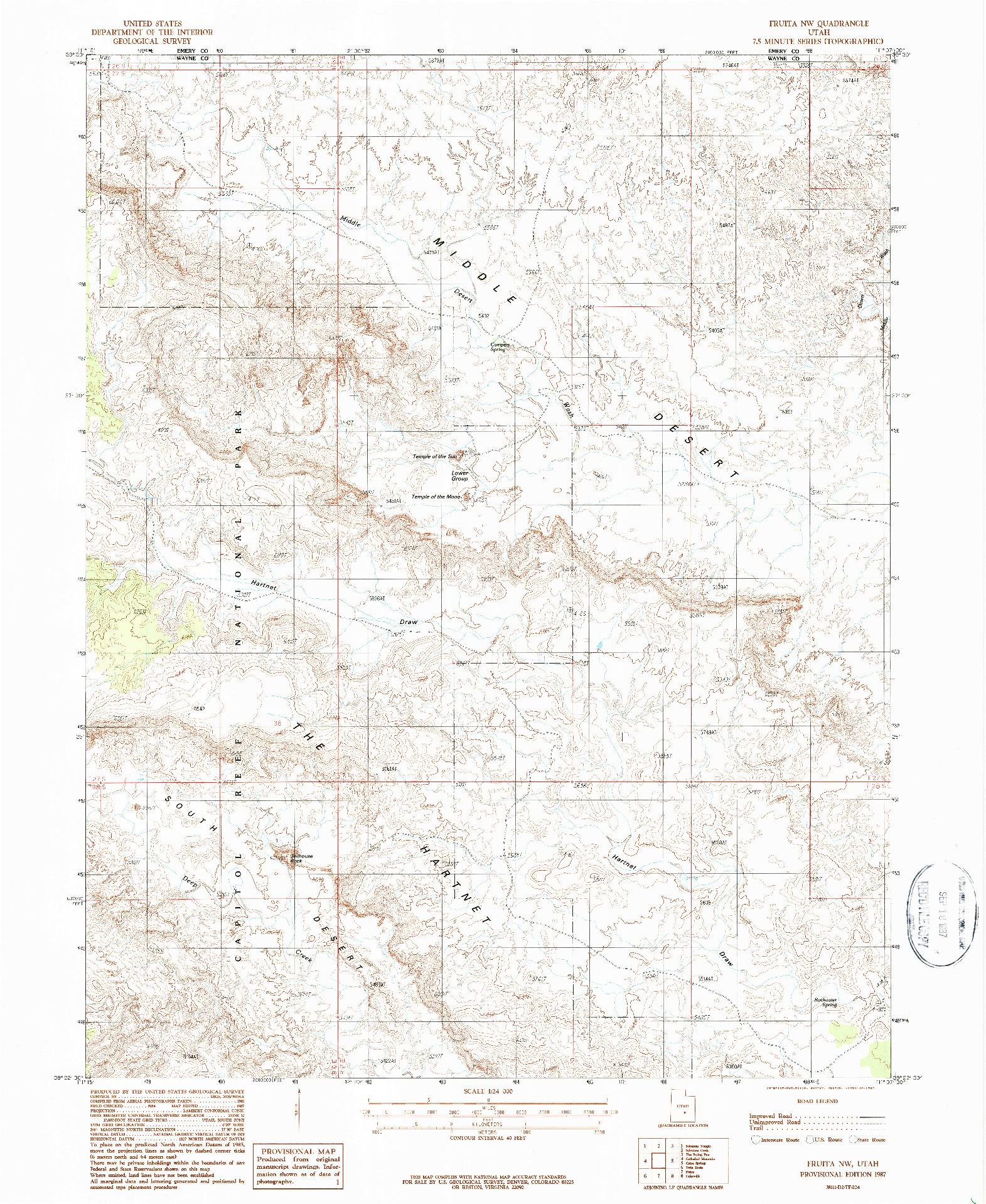 USGS 1:24000-SCALE QUADRANGLE FOR FRUITA NW, UT 1987