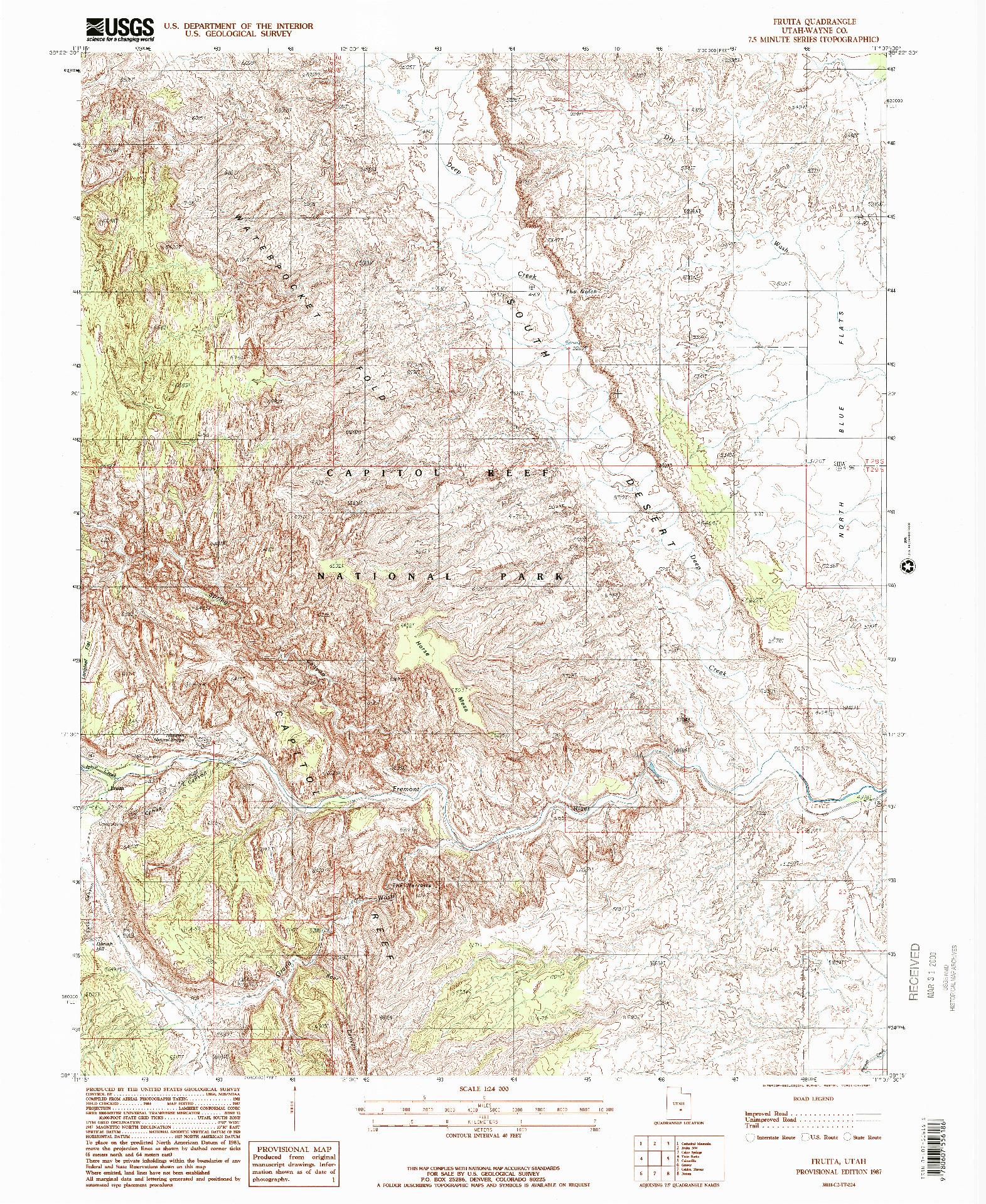 USGS 1:24000-SCALE QUADRANGLE FOR FRUITA, UT 1987