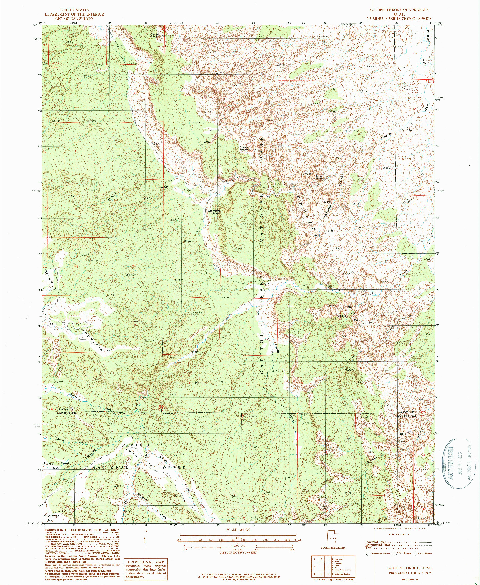 USGS 1:24000-SCALE QUADRANGLE FOR GOLDEN THRONE, UT 1987