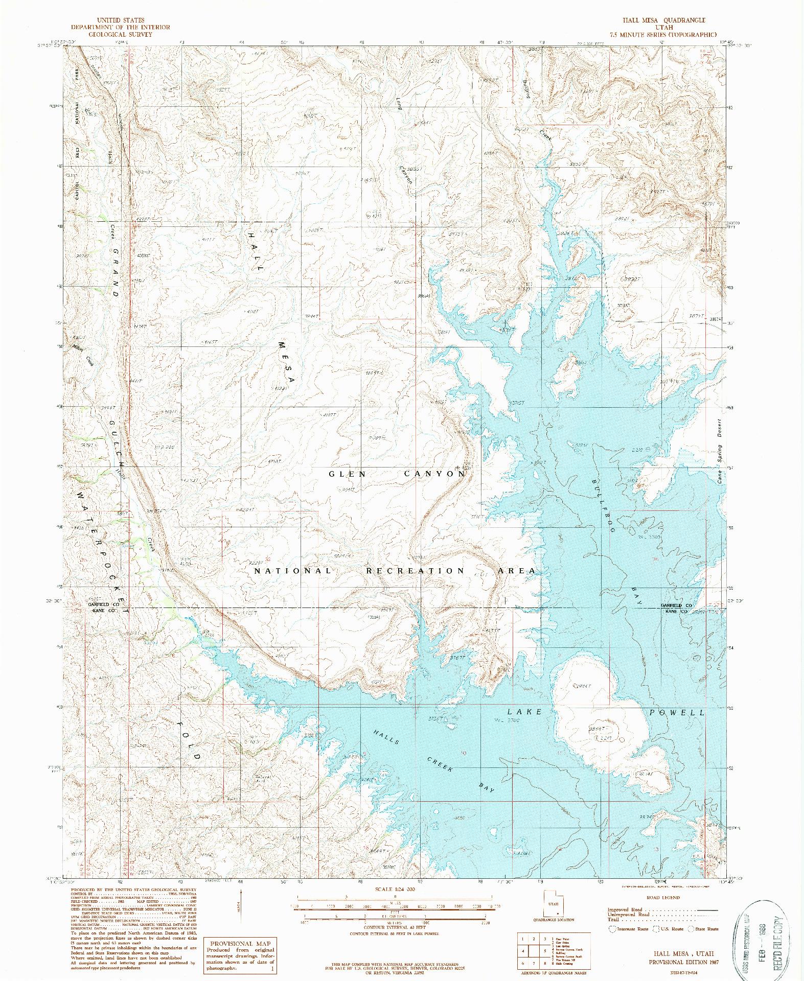 USGS 1:24000-SCALE QUADRANGLE FOR HALL MESA, UT 1987