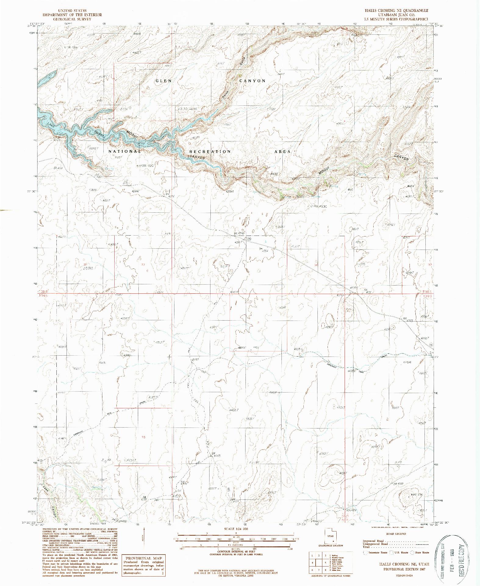 USGS 1:24000-SCALE QUADRANGLE FOR HALLS CROSSING NE, UT 1987
