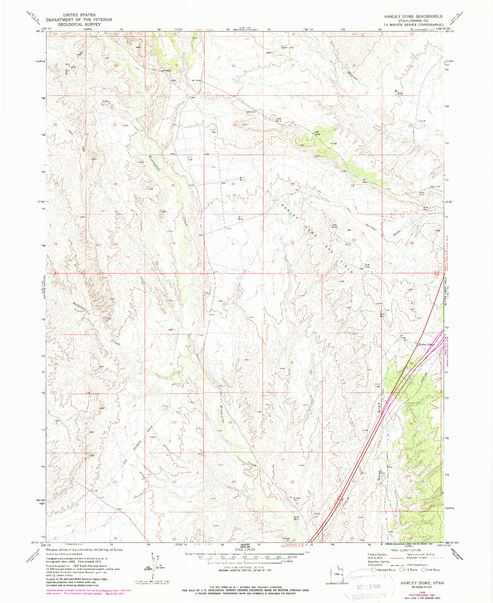 USGS 1:24000-SCALE QUADRANGLE FOR HARLEY DOME, UT 1970
