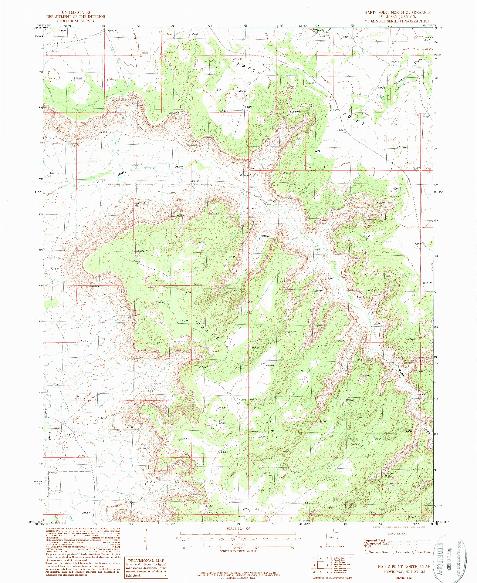 USGS 1:24000-SCALE QUADRANGLE FOR HARTS POINT NORTH, UT 1987