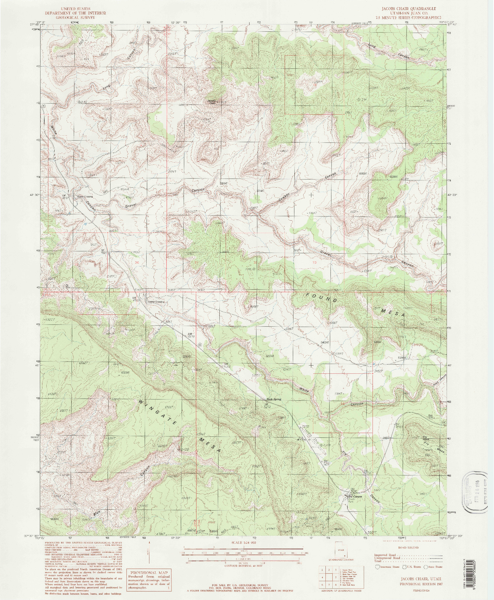 USGS 1:24000-SCALE QUADRANGLE FOR JACOBS CHAIR, UT 1987