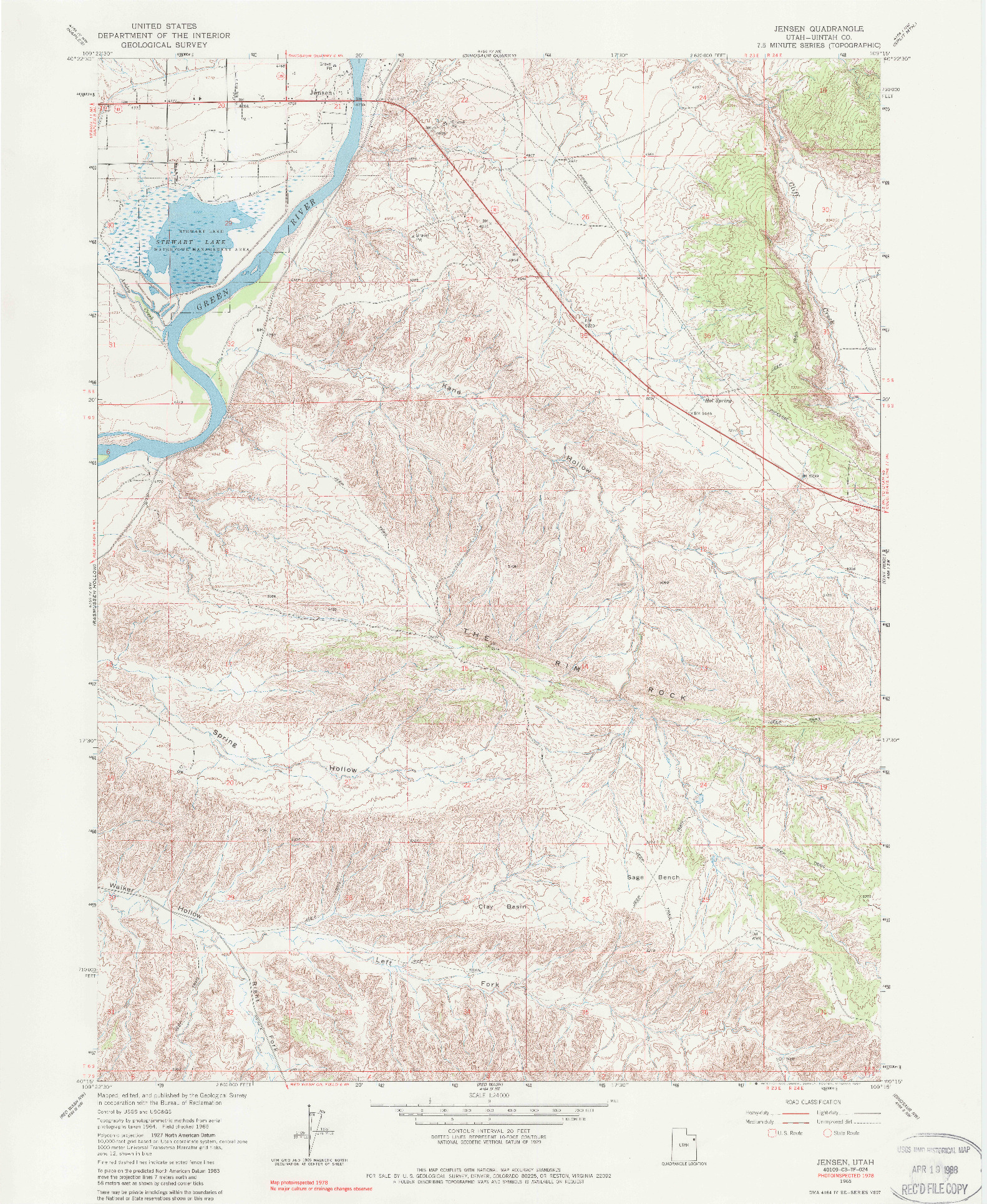 USGS 1:24000-SCALE QUADRANGLE FOR JENSEN, UT 1965