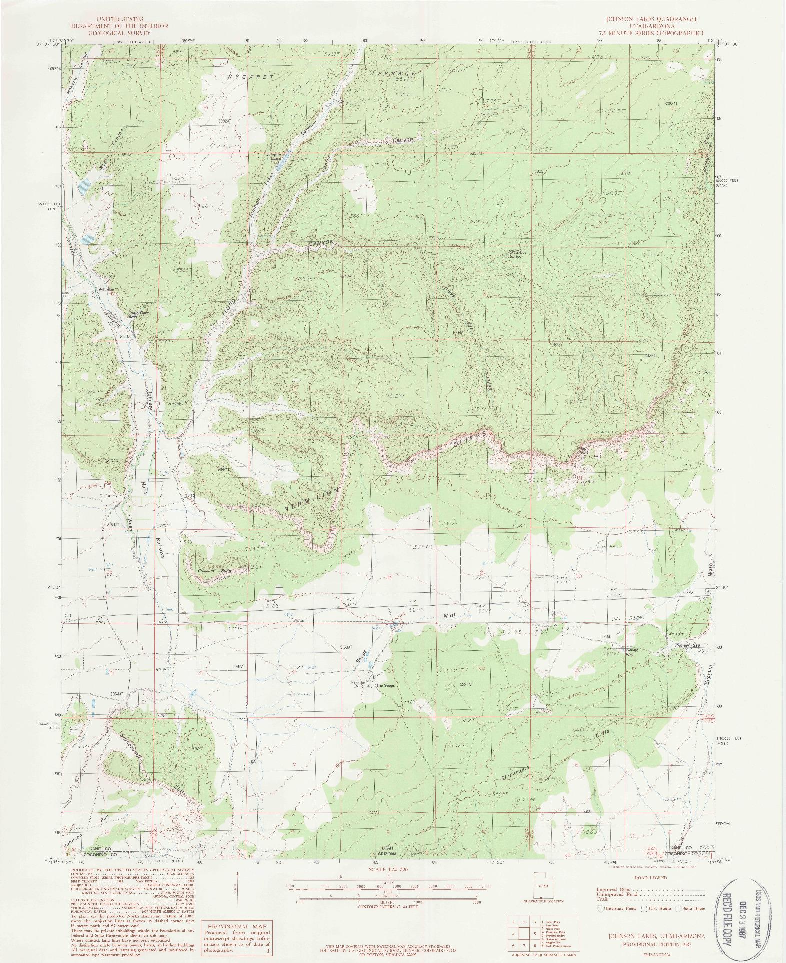 USGS 1:24000-SCALE QUADRANGLE FOR JOHNSON LAKES, UT 1987