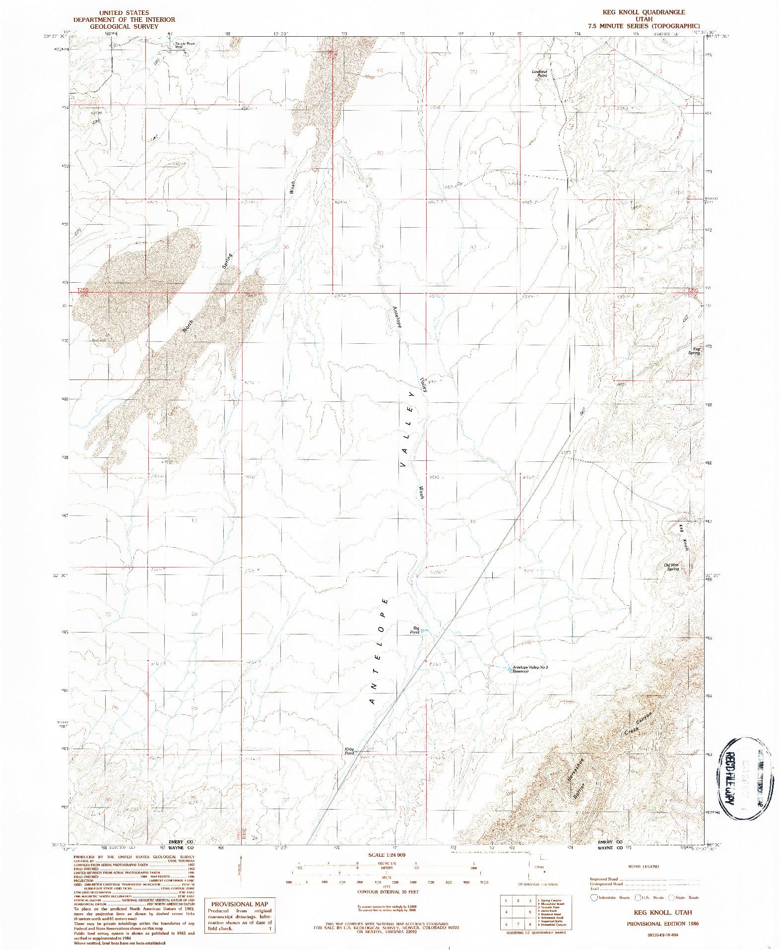 USGS 1:24000-SCALE QUADRANGLE FOR KEG KNOLL, UT 1986