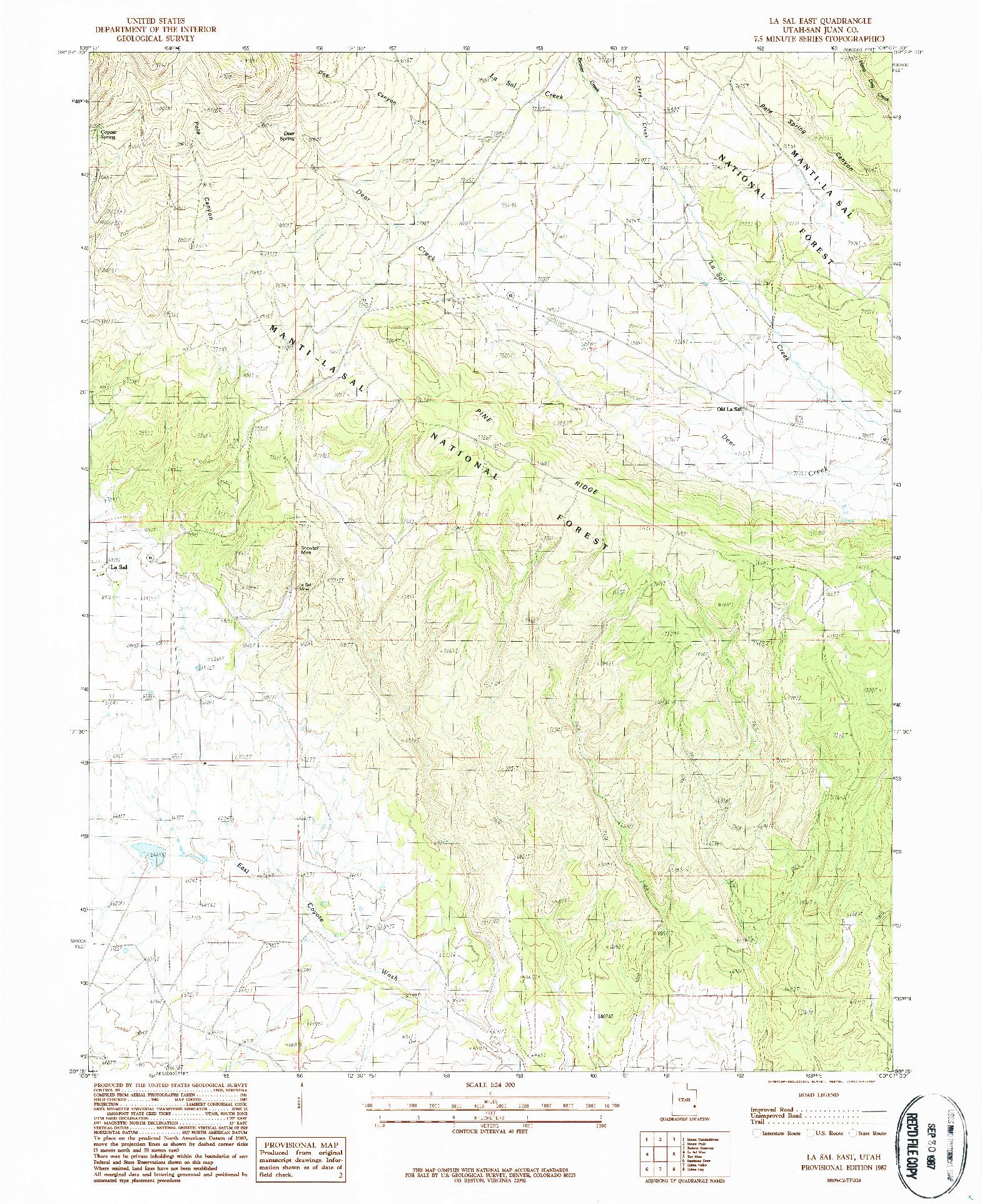 USGS 1:24000-SCALE QUADRANGLE FOR LA SAL EAST, UT 1987