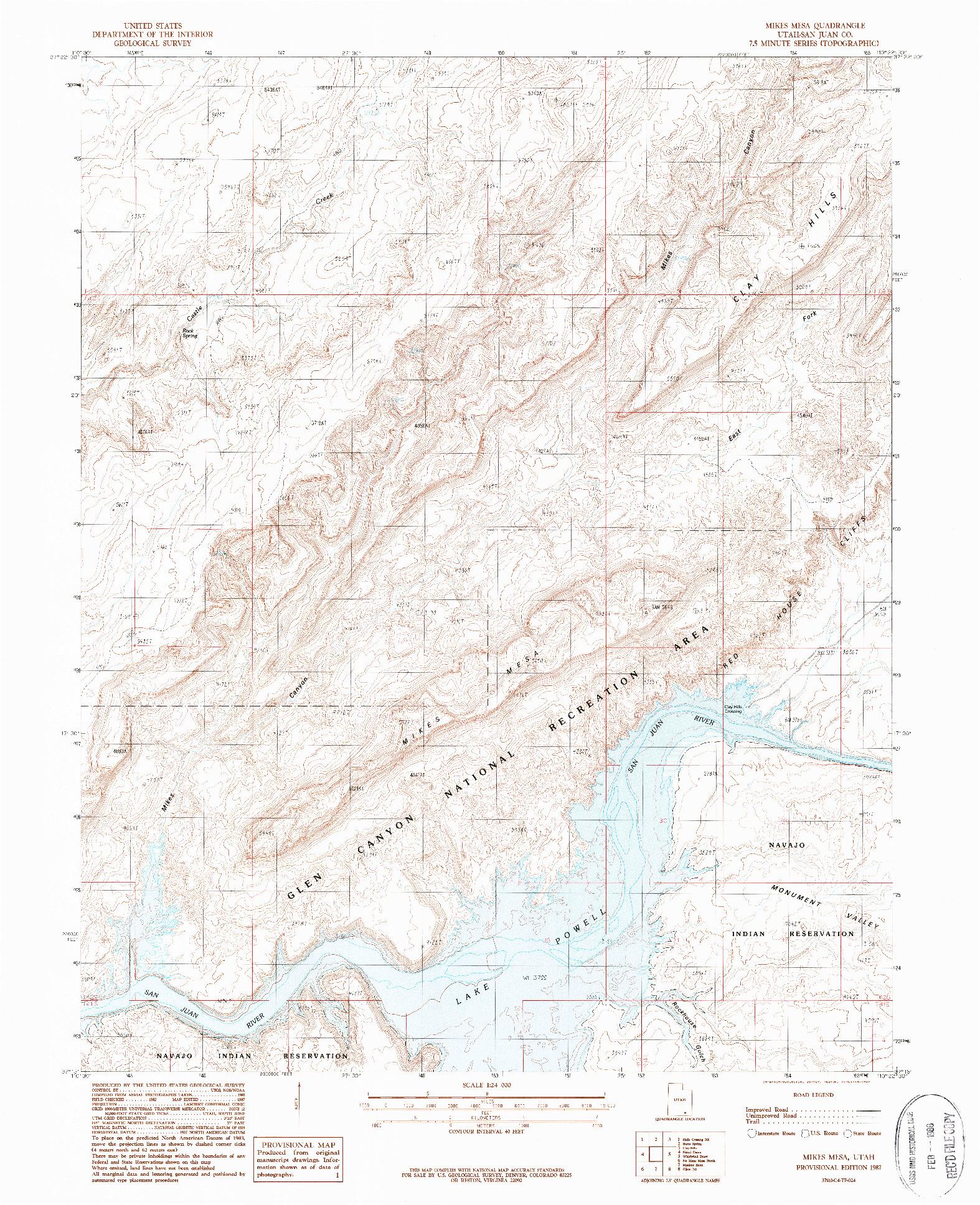 USGS 1:24000-SCALE QUADRANGLE FOR MIKES MESA, UT 1987