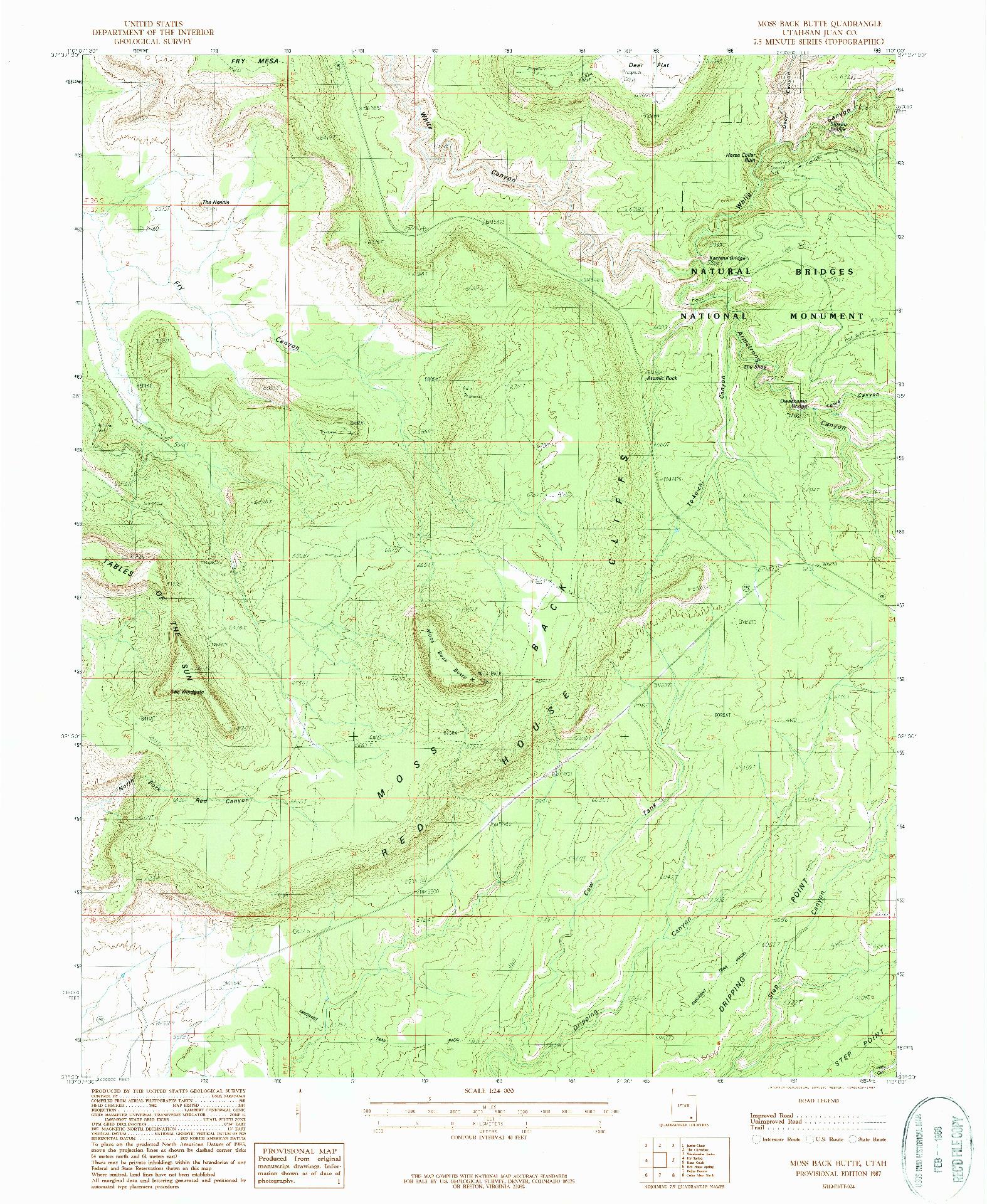 USGS 1:24000-SCALE QUADRANGLE FOR MOSS BACK BUTTE, UT 1987