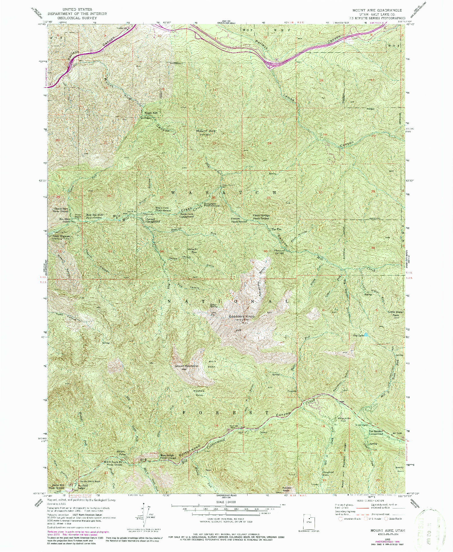 USGS 1:24000-SCALE QUADRANGLE FOR MOUNT AIRE, UT 1955