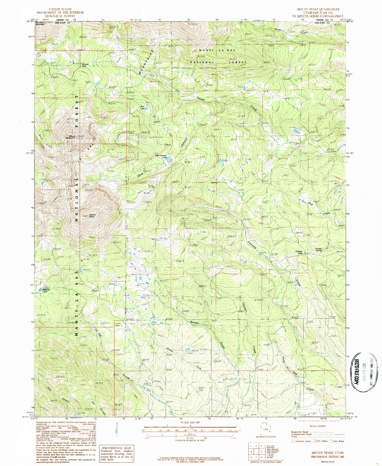 USGS 1:24000-SCALE QUADRANGLE FOR MOUNT PEALE, UT 1987