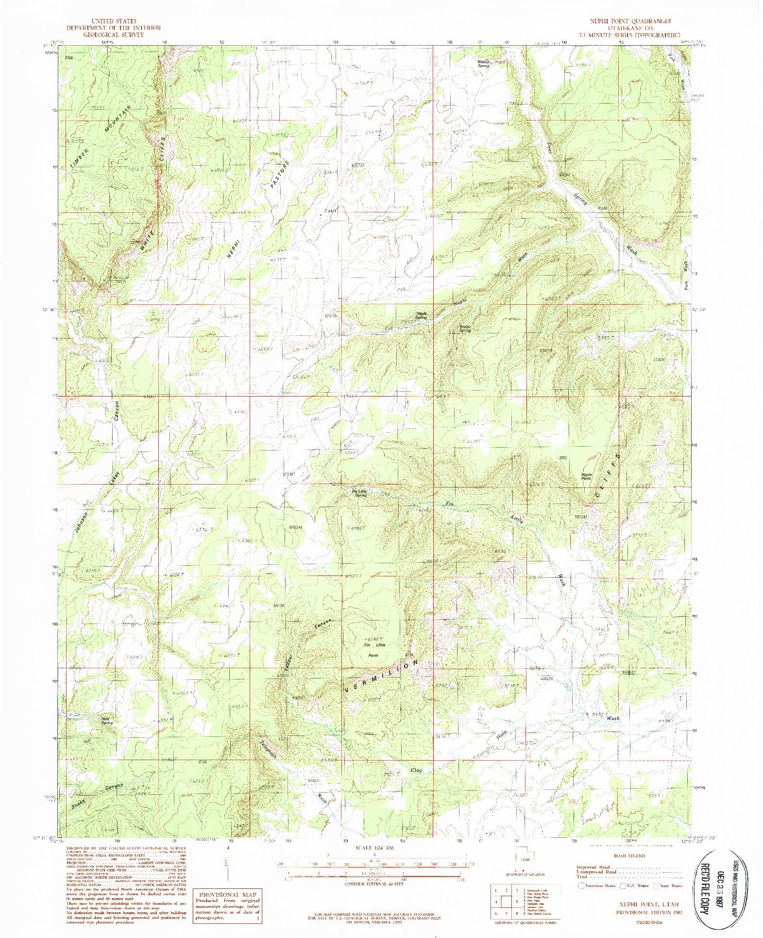 USGS 1:24000-SCALE QUADRANGLE FOR NEPHI POINT, UT 1987