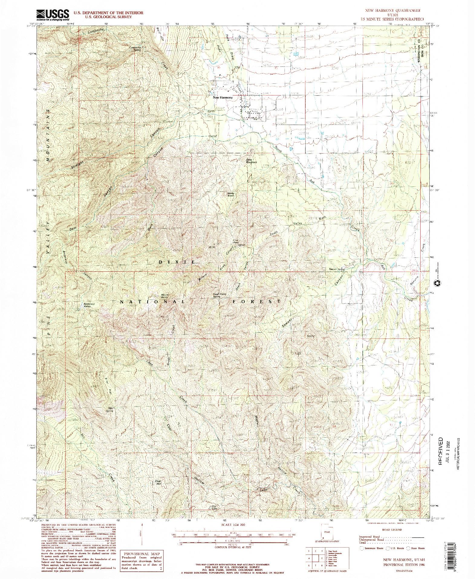 USGS 1:24000-SCALE QUADRANGLE FOR NEW HARMONY, UT 1986