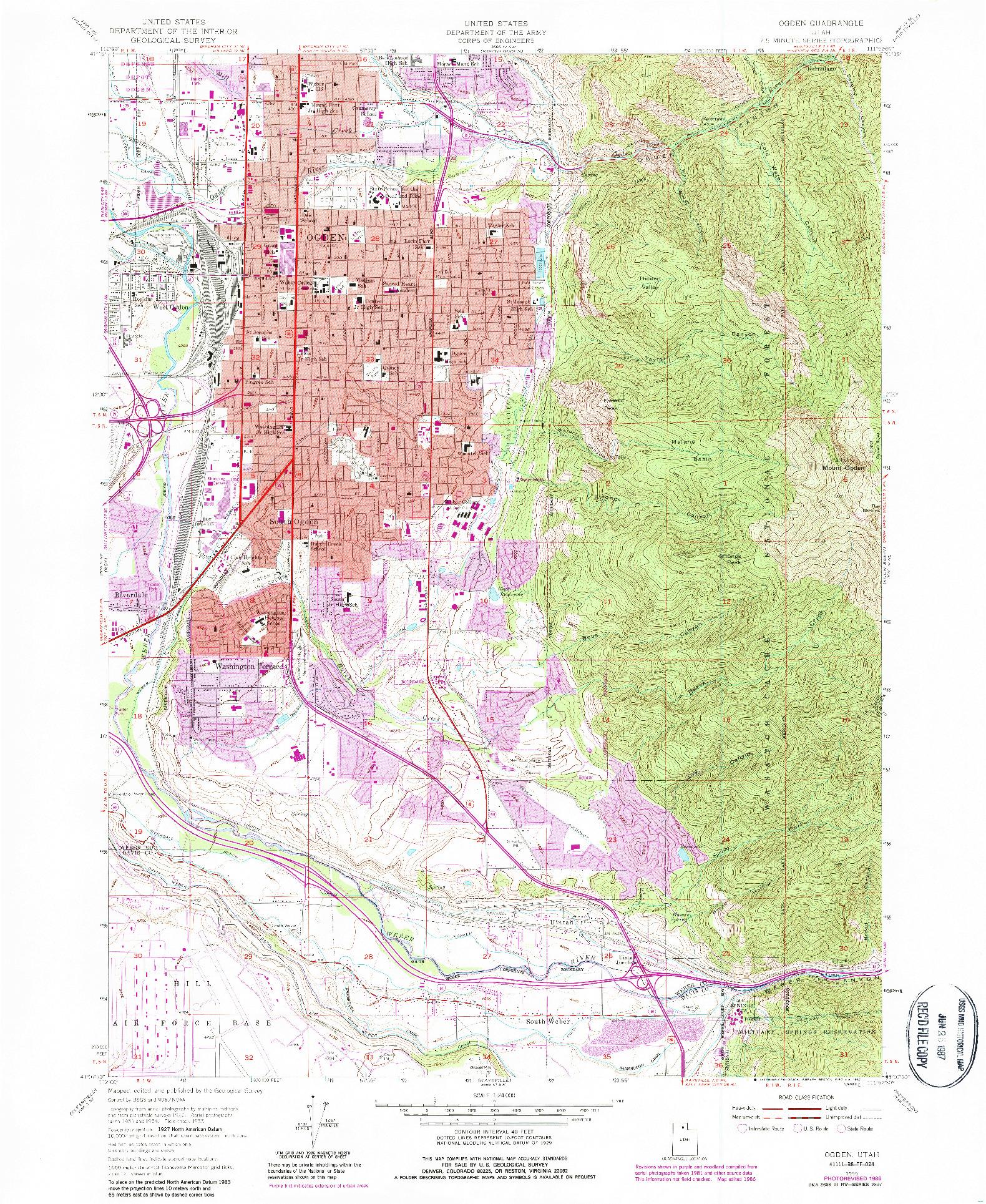 USGS 1:24000-SCALE QUADRANGLE FOR OGDEN, UT 1955