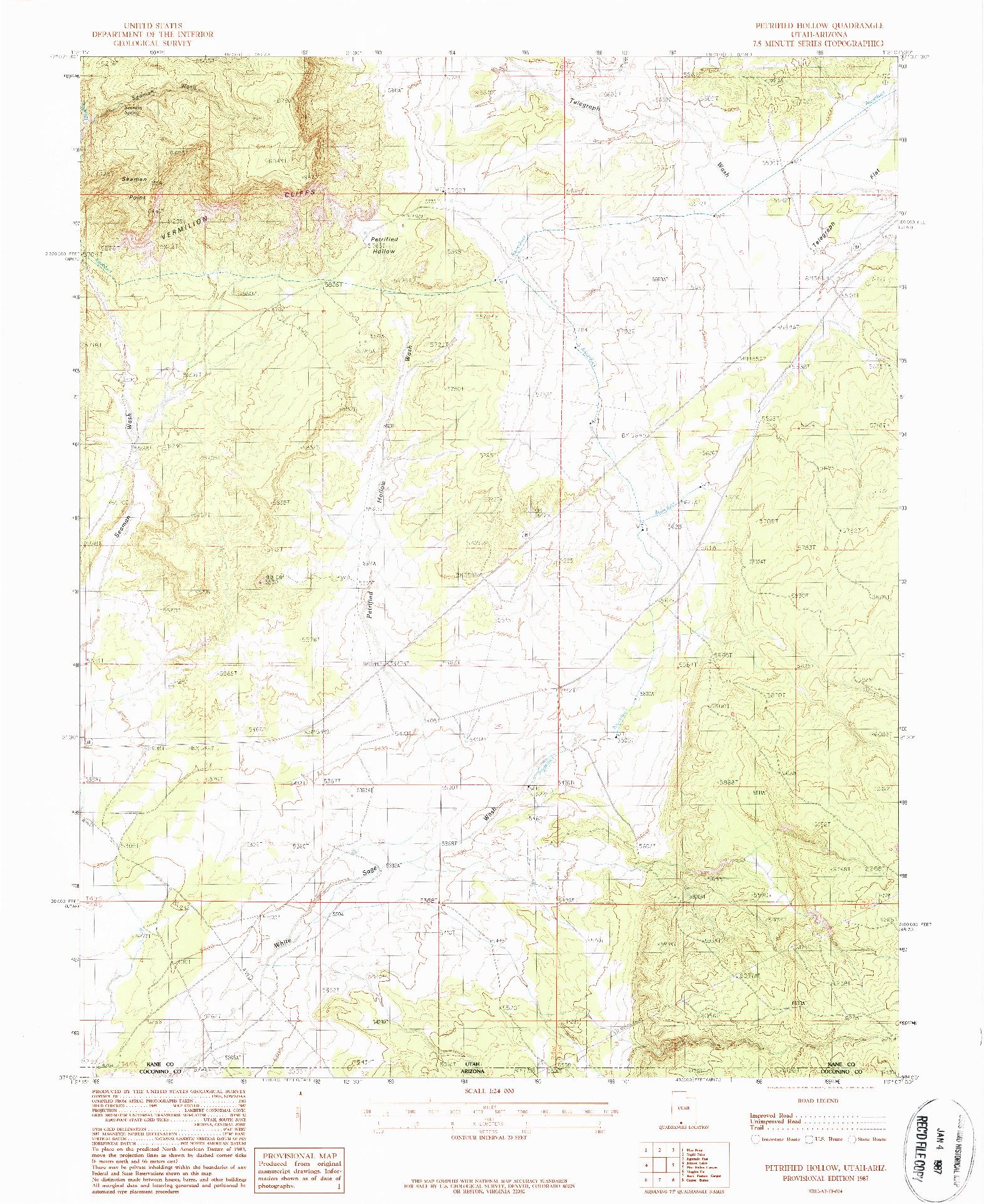 USGS 1:24000-SCALE QUADRANGLE FOR PETRIFIED HOLLOW, UT 1987