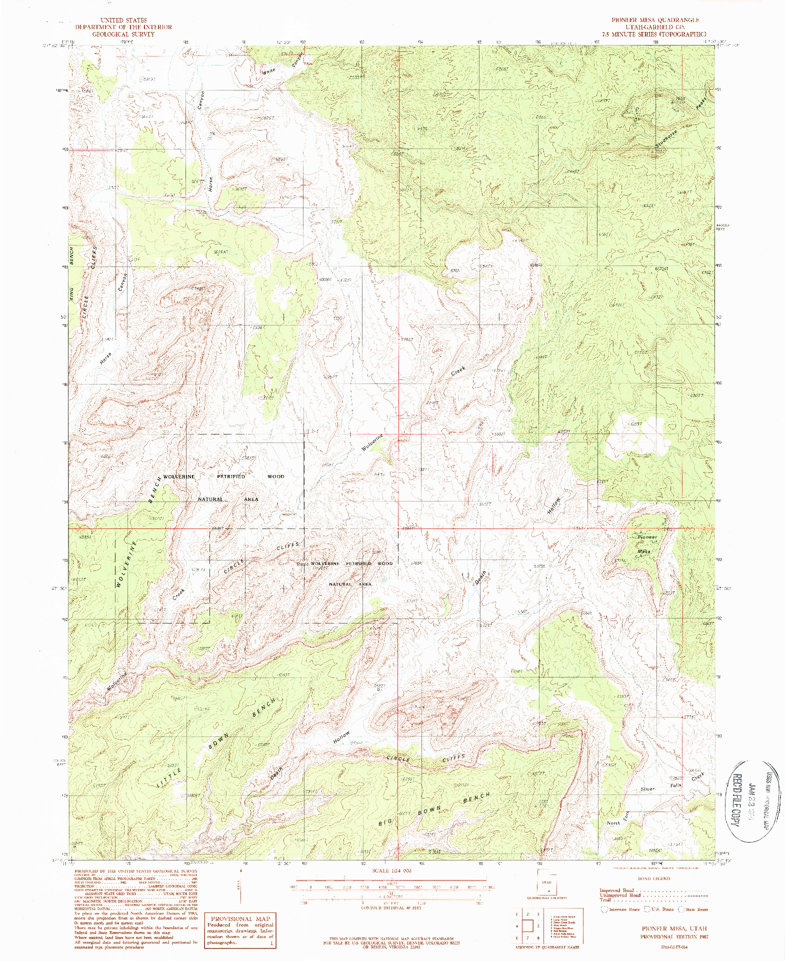 USGS 1:24000-SCALE QUADRANGLE FOR PIONEER MESA, UT 1987