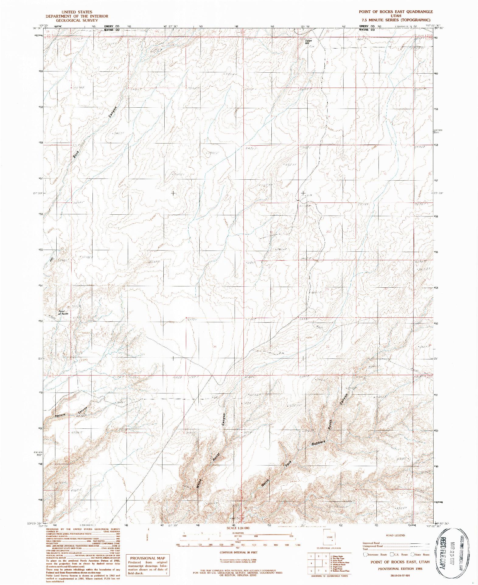 USGS 1:24000-SCALE QUADRANGLE FOR POINT OF ROCKS EAST, UT 1986