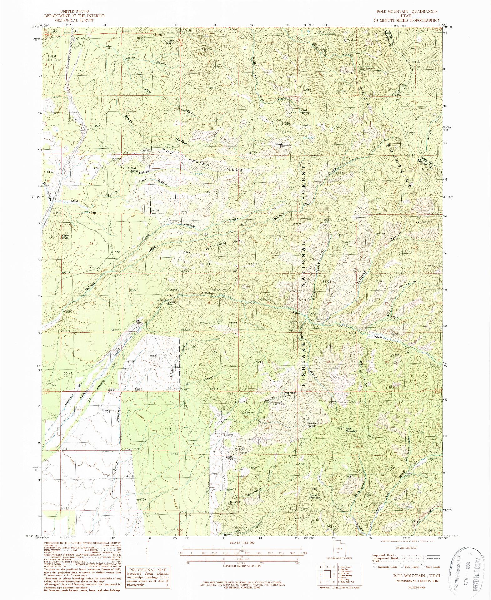 USGS 1:24000-SCALE QUADRANGLE FOR POLE MOUNTAIN, UT 1987