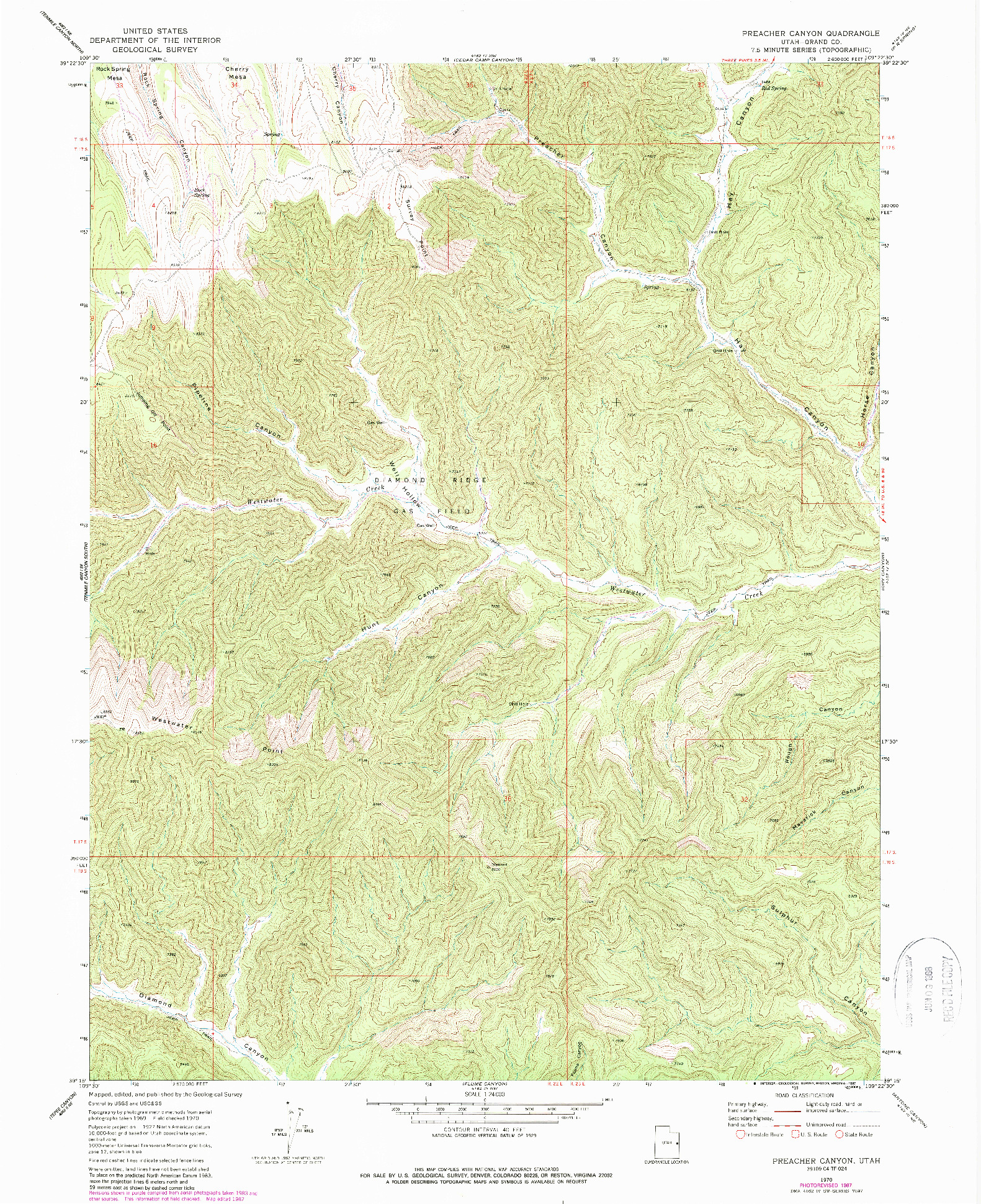 USGS 1:24000-SCALE QUADRANGLE FOR PREACHER CANYON, UT 1970