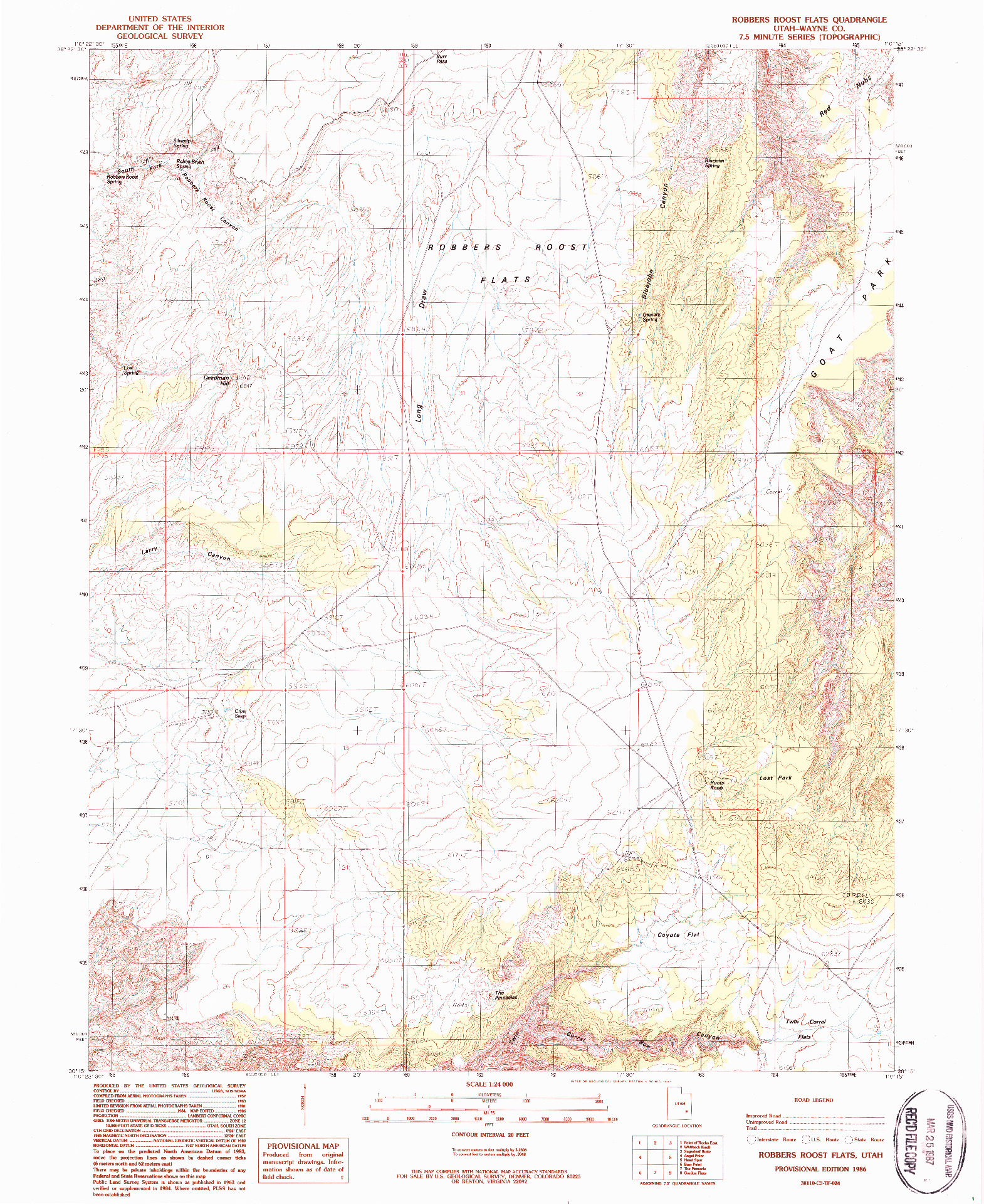 USGS 1:24000-SCALE QUADRANGLE FOR ROBBERS ROOST FLATS, UT 1986