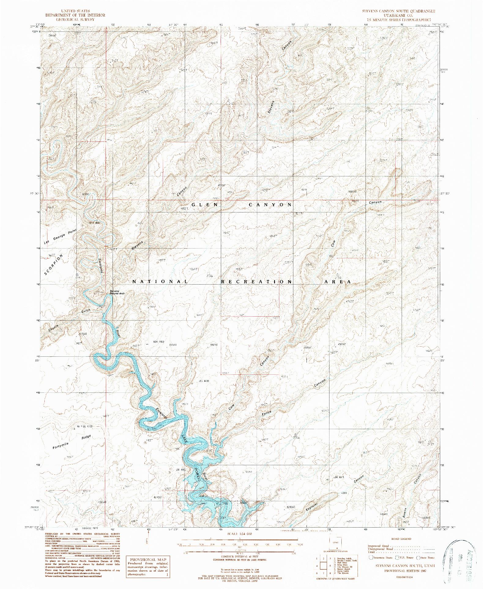 USGS 1:24000-SCALE QUADRANGLE FOR STEVENS CANYON SOUTH, UT 1987