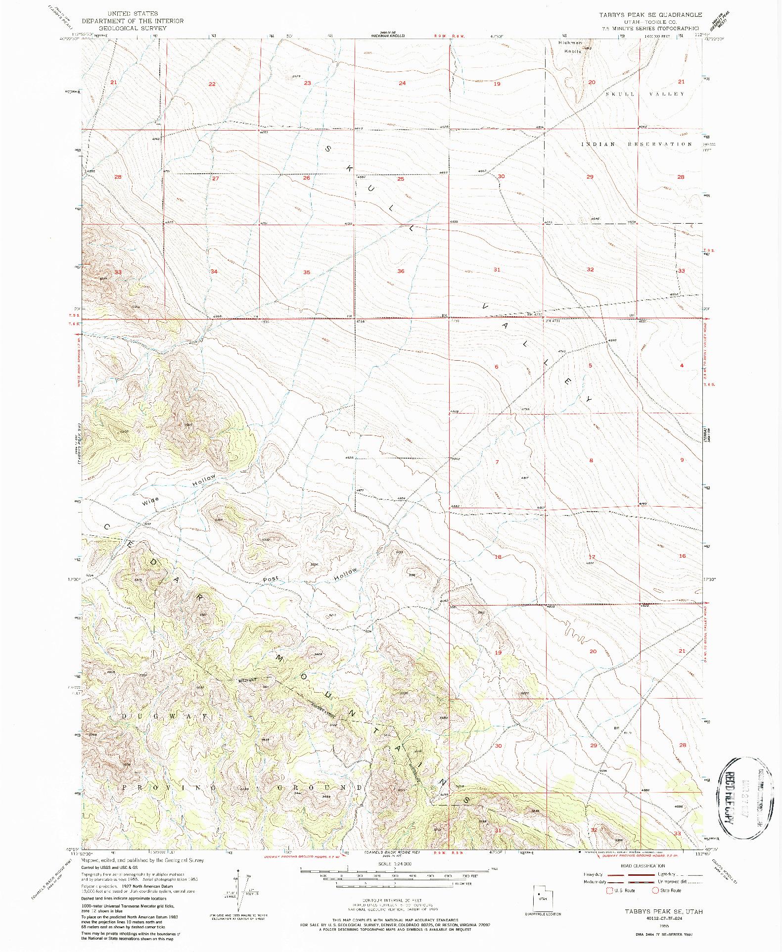USGS 1:24000-SCALE QUADRANGLE FOR TABBYS PEAK SE, UT 1955