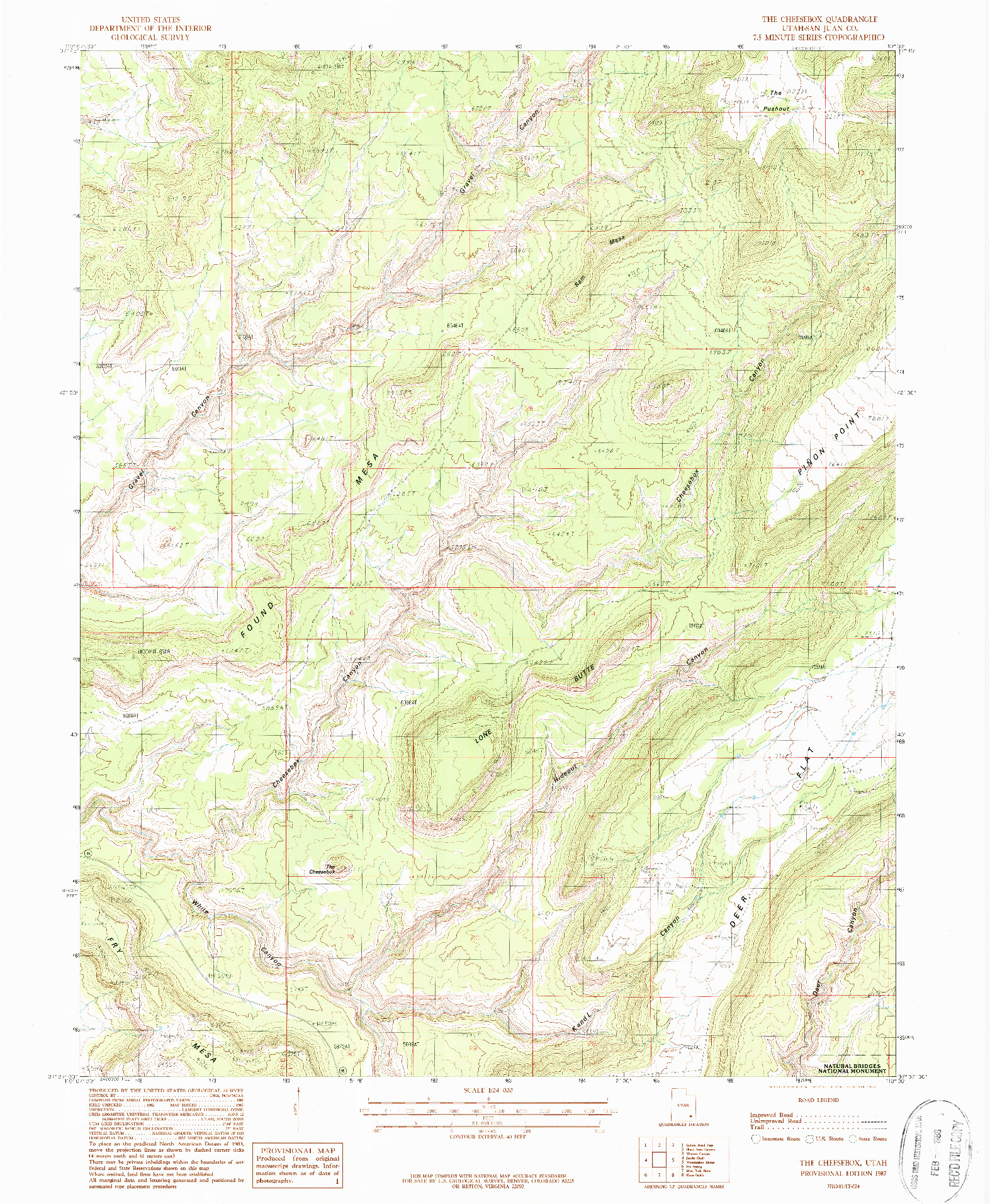 USGS 1:24000-SCALE QUADRANGLE FOR THE CHEESEBOX, UT 1987