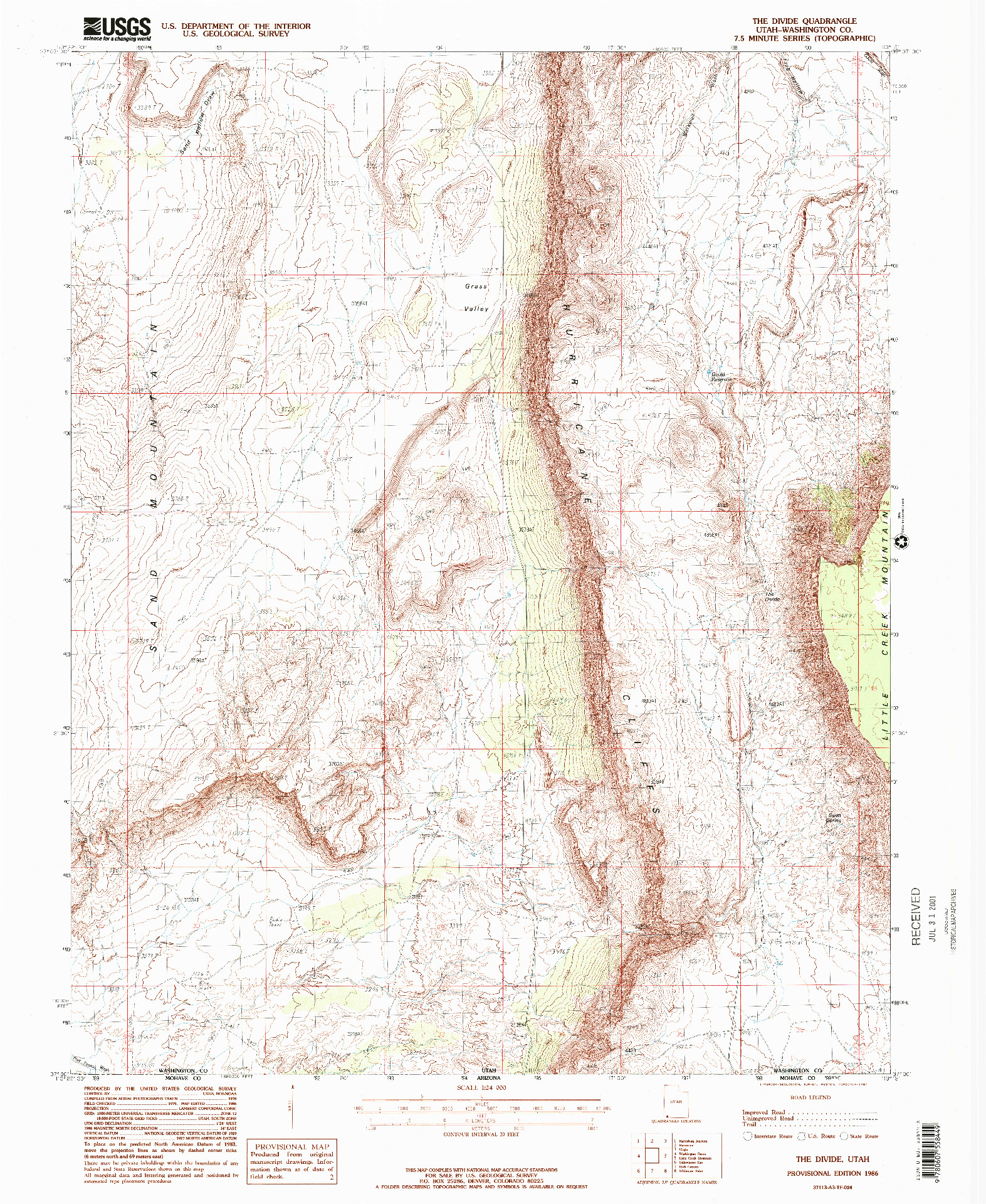 USGS 1:24000-SCALE QUADRANGLE FOR THE DIVIDE, UT 1986