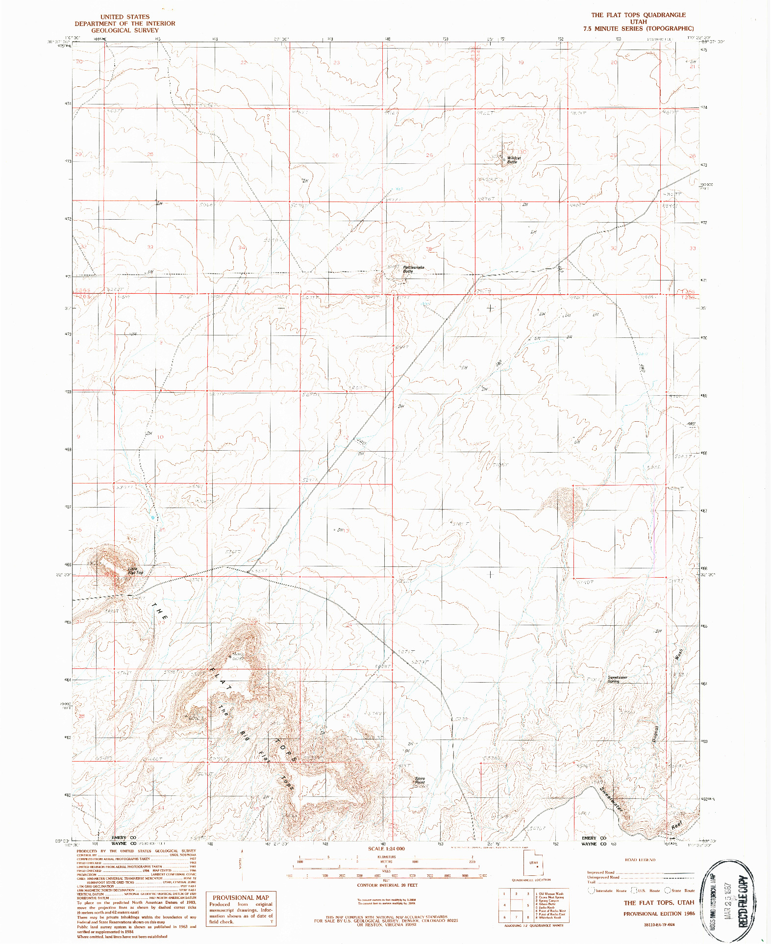 USGS 1:24000-SCALE QUADRANGLE FOR THE FLAT TOPS, UT 1986