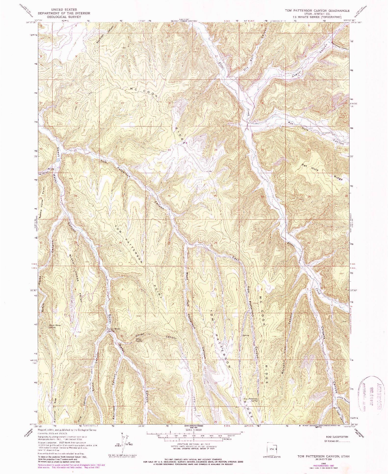 USGS 1:24000-SCALE QUADRANGLE FOR TOM PATTERSON CANYON, UT 1966