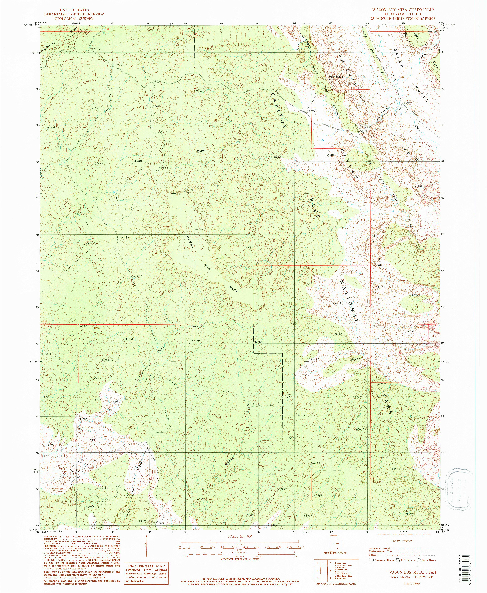 USGS 1:24000-SCALE QUADRANGLE FOR WAGON BOX MESA, UT 1987
