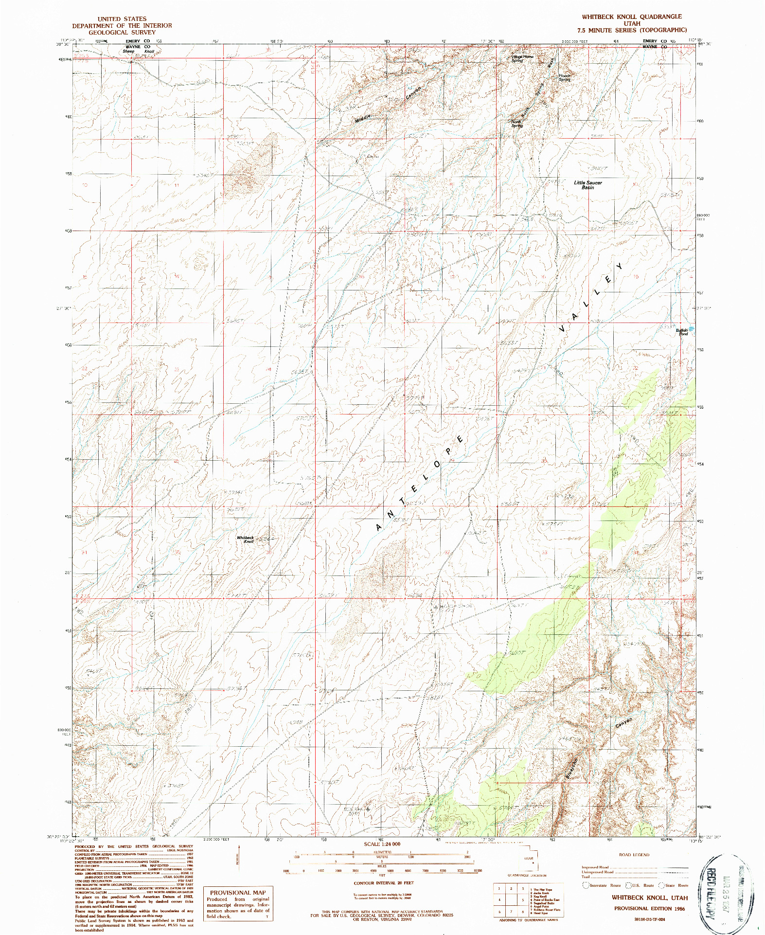 USGS 1:24000-SCALE QUADRANGLE FOR WHITBECK KNOLL, UT 1986