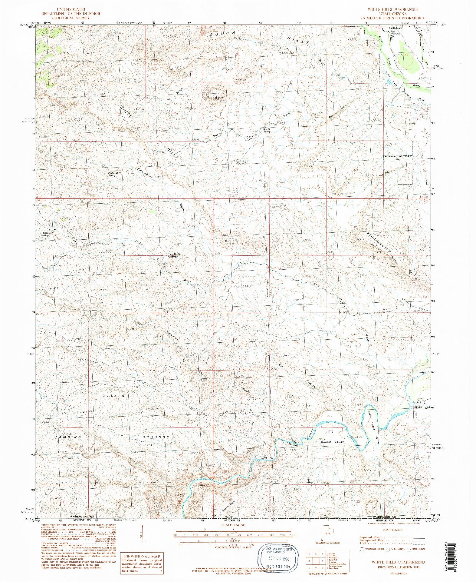 USGS 1:24000-SCALE QUADRANGLE FOR WHITE HILLS, UT 1986